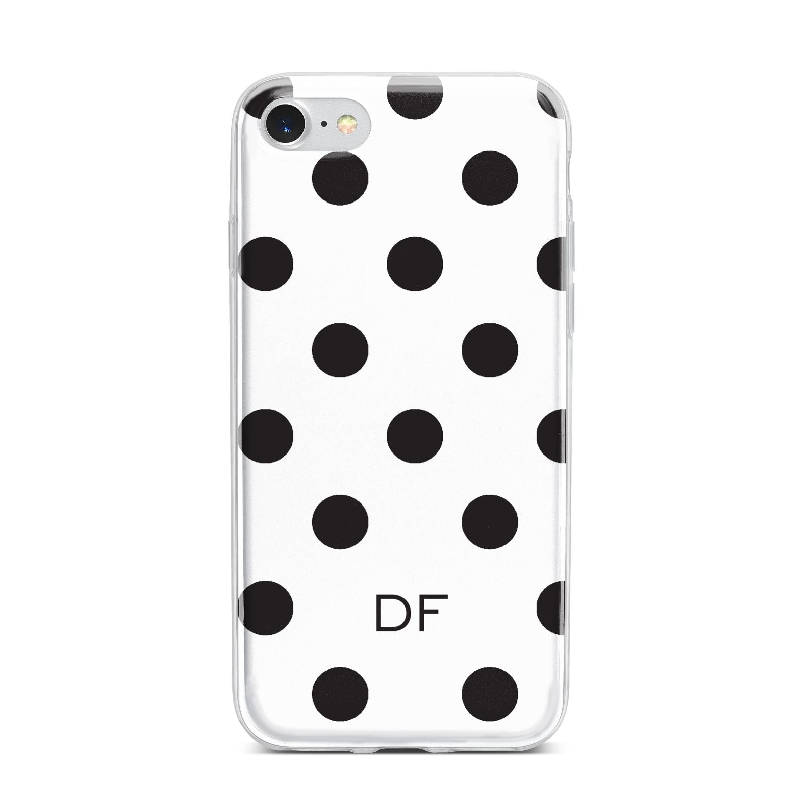 Personalised Initial Black Dots iPhone 7 Bumper Case on Silver iPhone