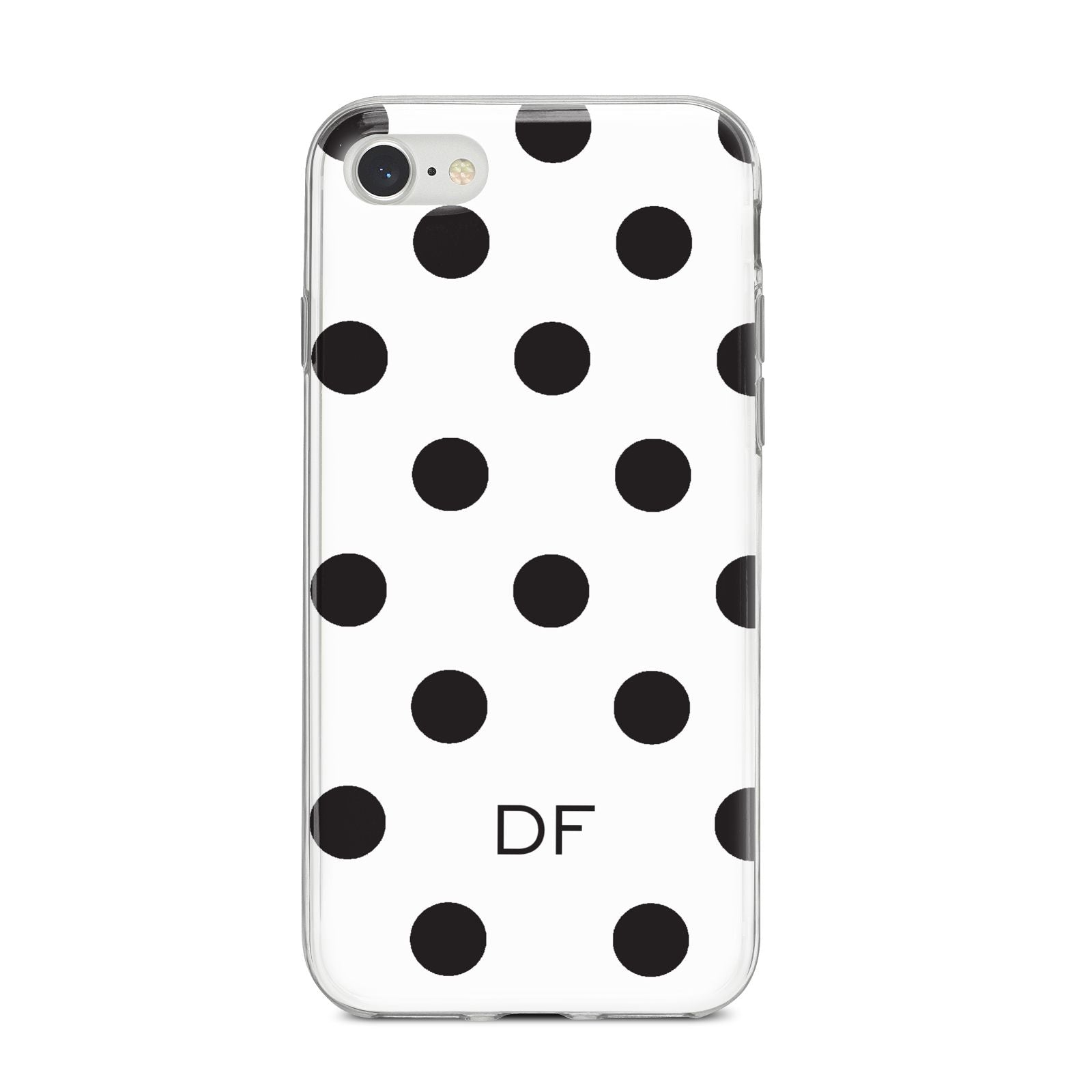 Personalised Initial Black Dots iPhone 8 Bumper Case on Silver iPhone