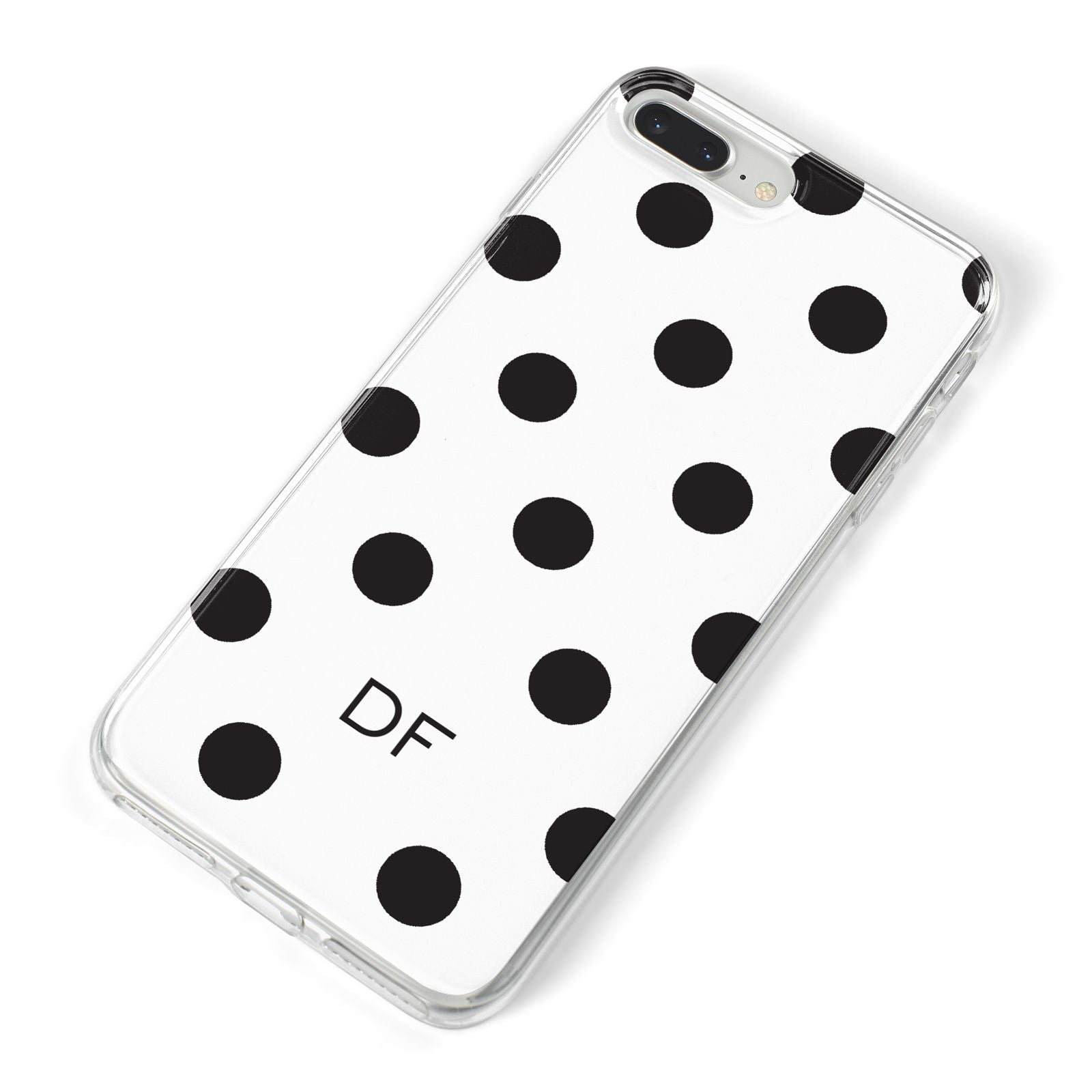 Personalised Initial Black Dots iPhone 8 Plus Bumper Case on Silver iPhone Alternative Image
