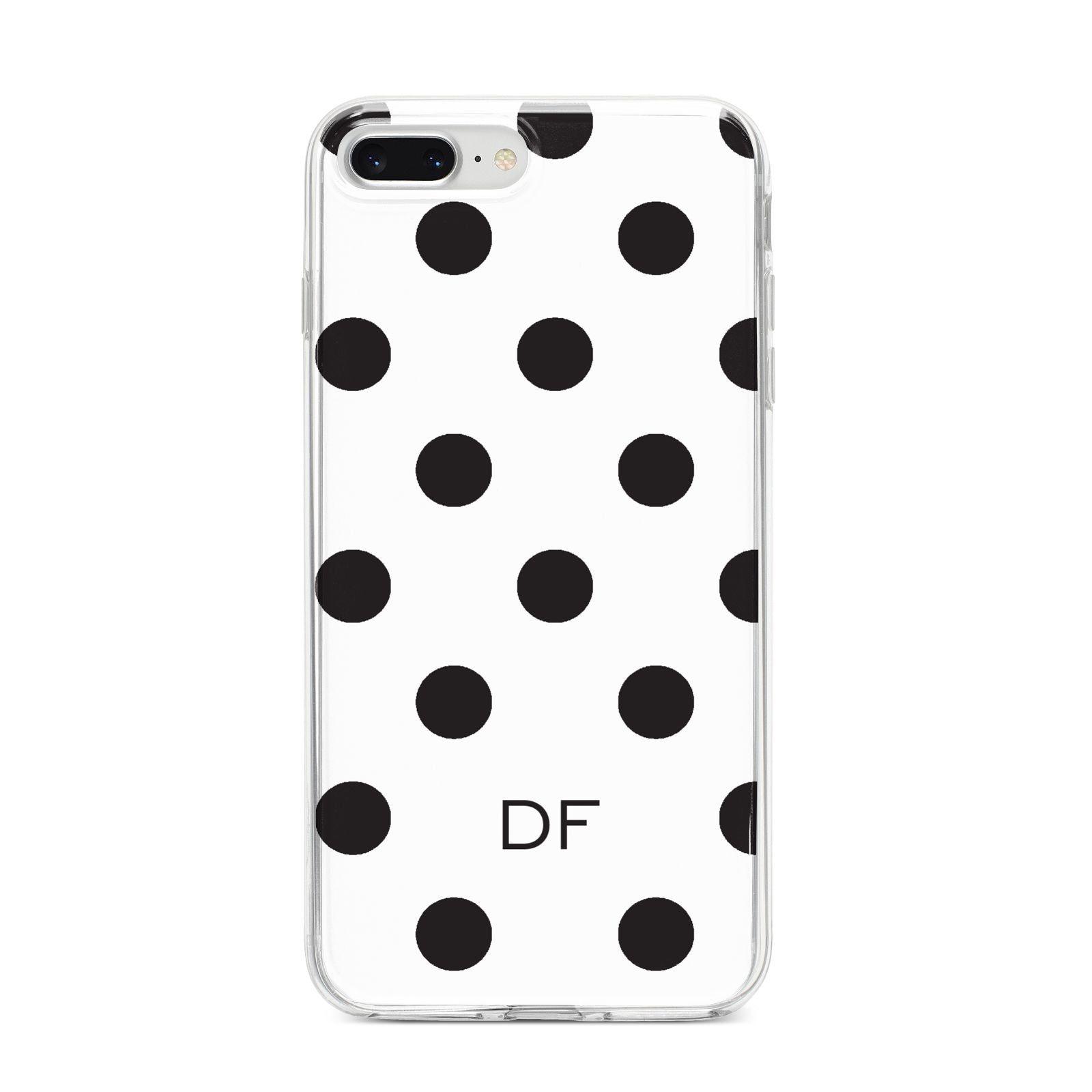 Personalised Initial Black Dots iPhone 8 Plus Bumper Case on Silver iPhone