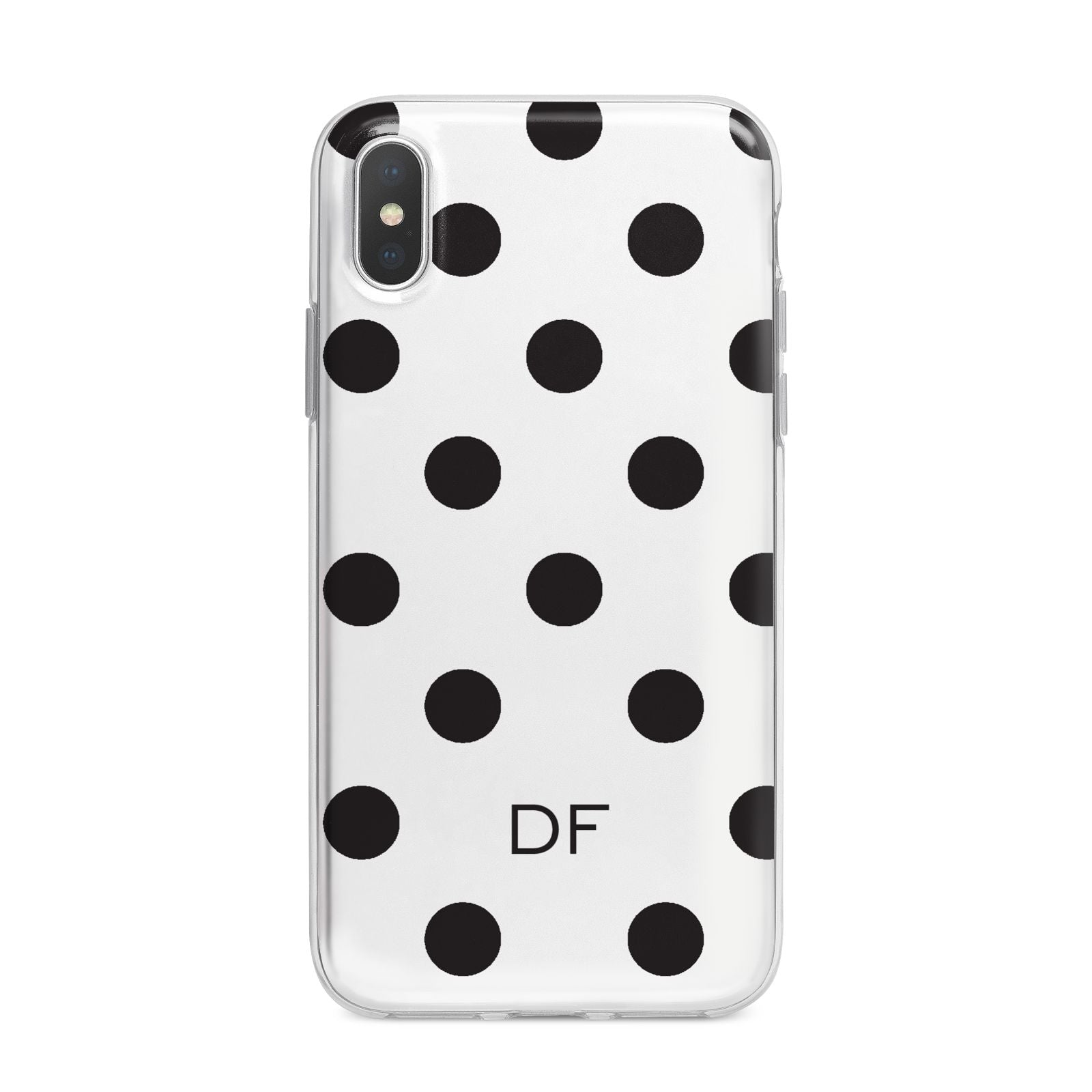 Personalised Initial Black Dots iPhone X Bumper Case on Silver iPhone Alternative Image 1