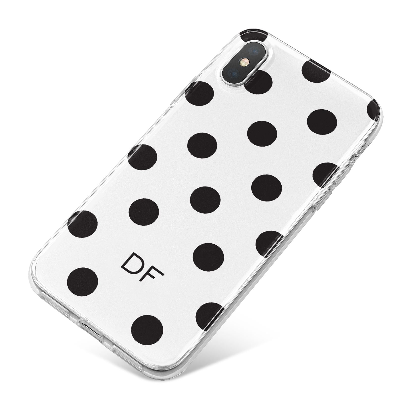 Personalised Initial Black Dots iPhone X Bumper Case on Silver iPhone