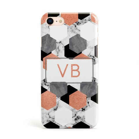 Personalised Initials Copper Marble Apple iPhone Case