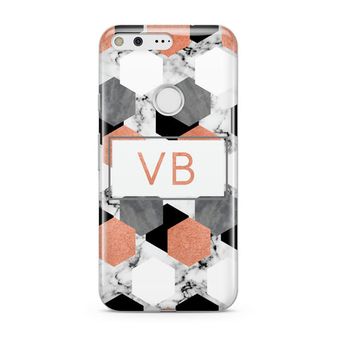 Personalised Initials Copper Marble Google Case