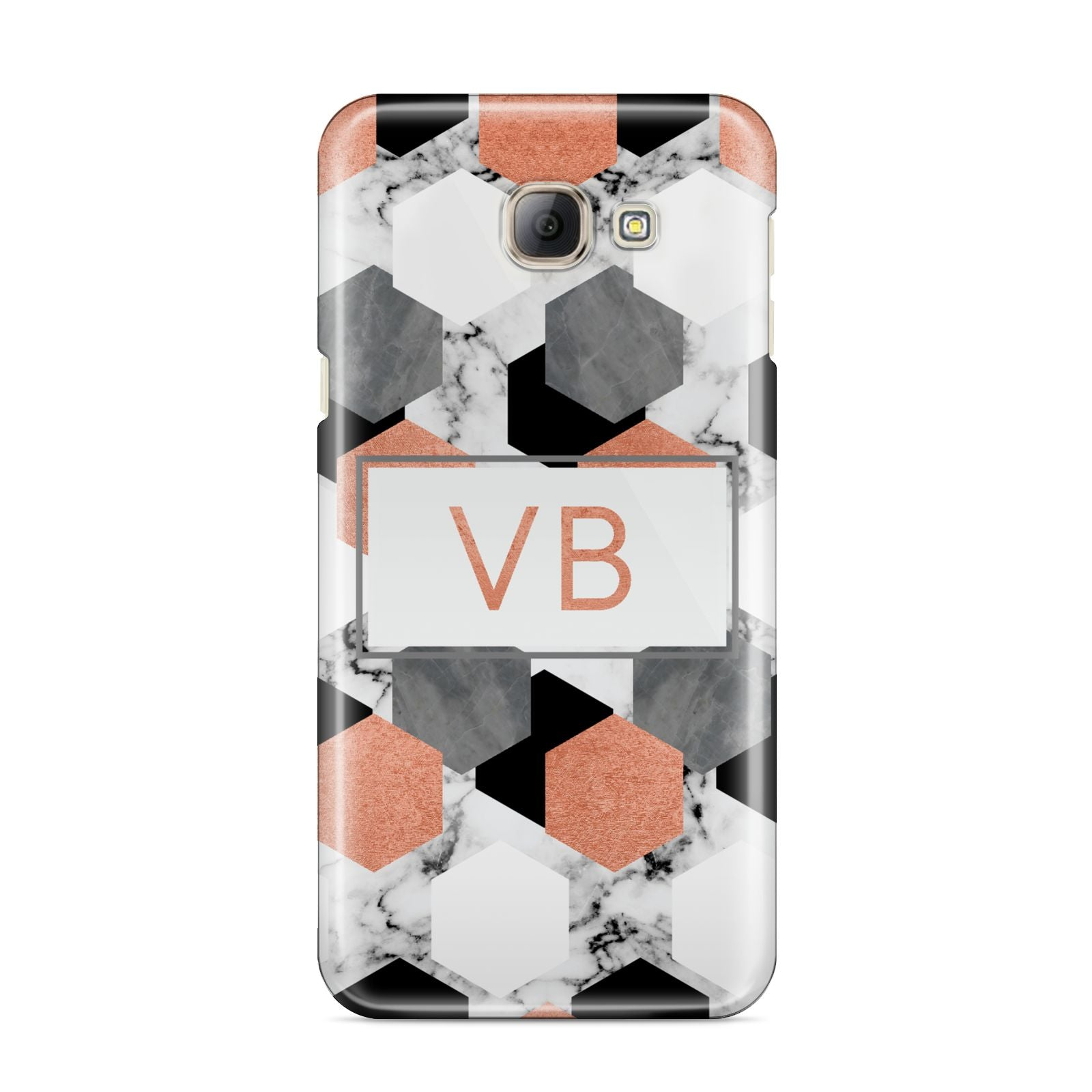 Personalised Initials Copper Marble Samsung Galaxy A8 2016 Case