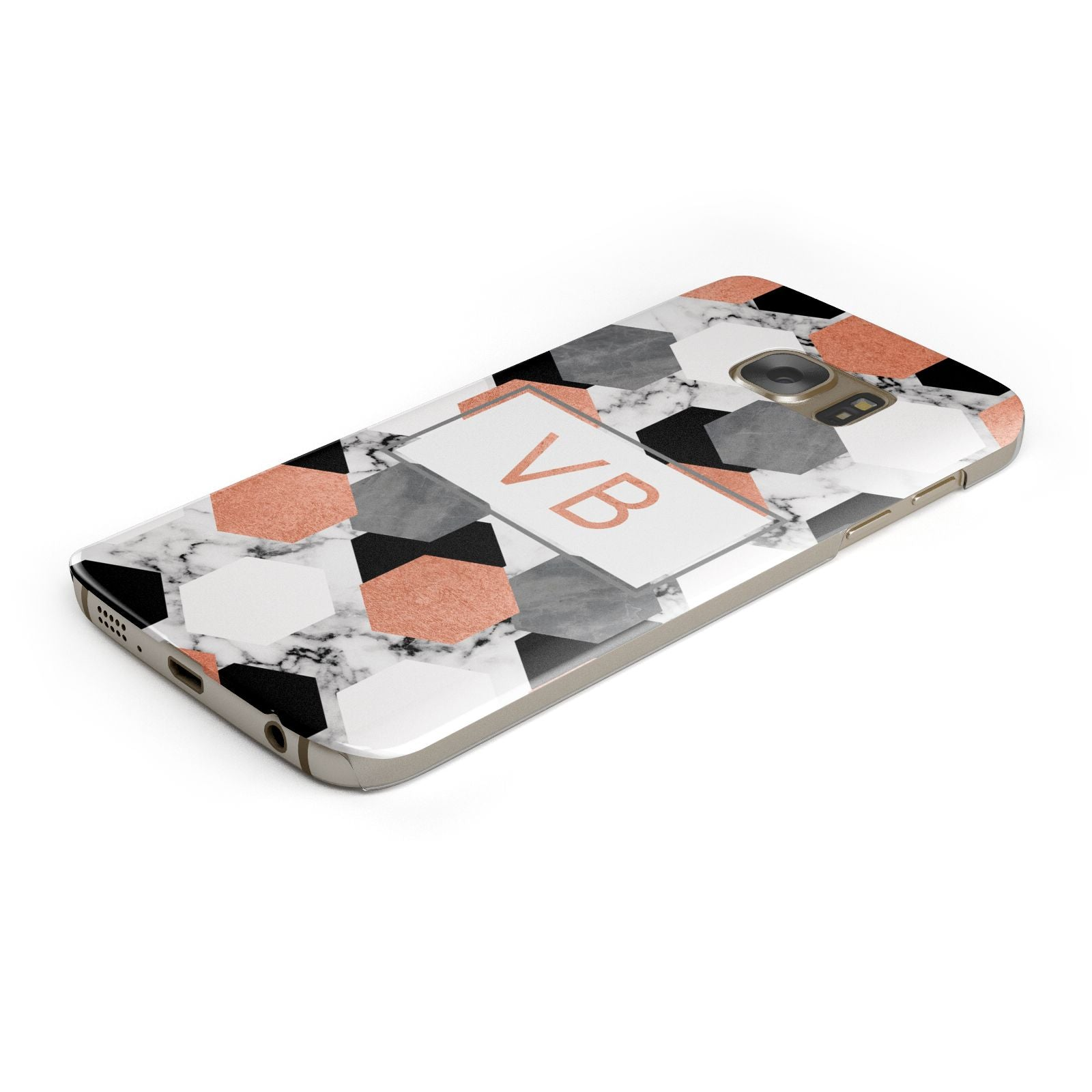 Personalised Initials Copper Marble Samsung Galaxy Case Bottom Cutout