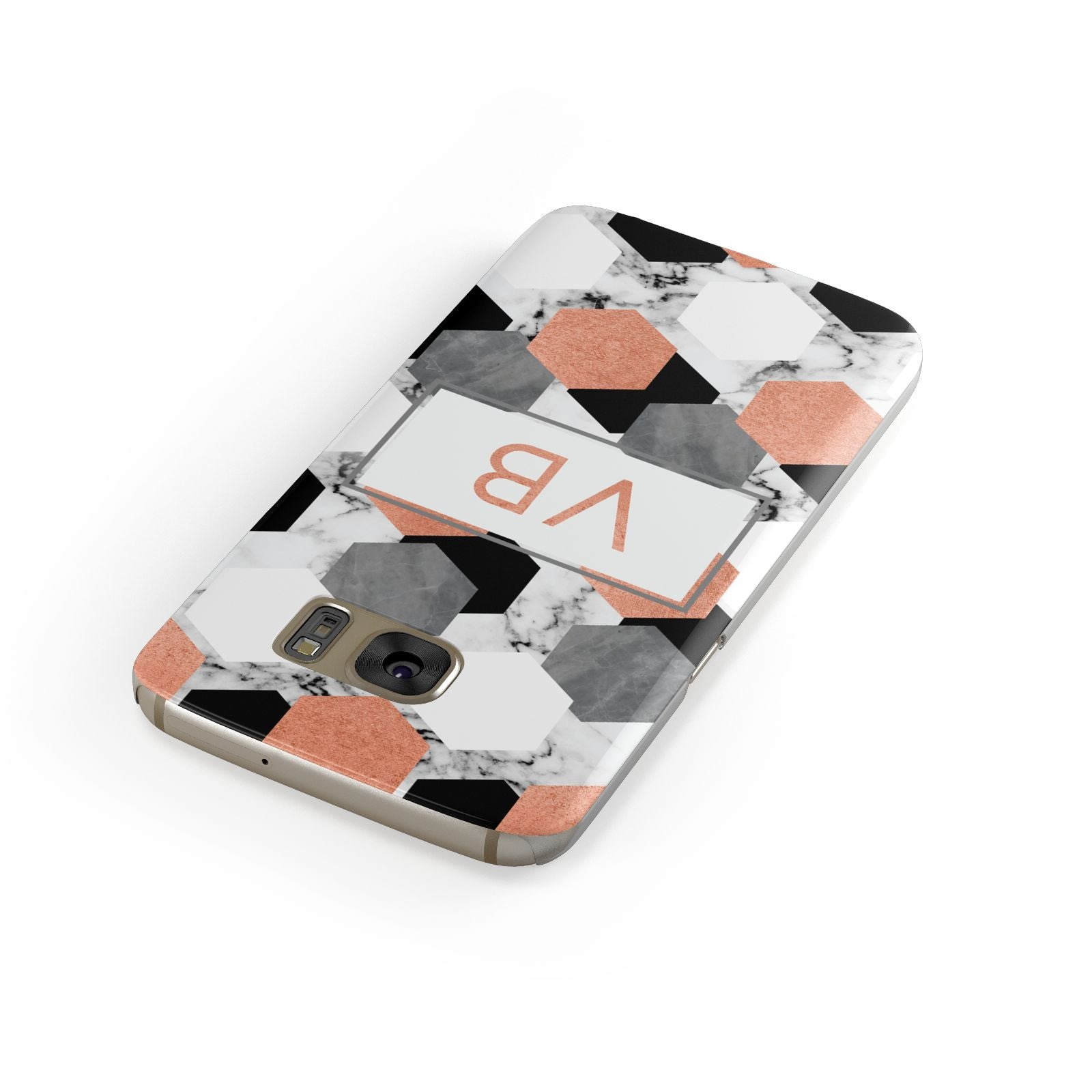 Personalised Initials Copper Marble Samsung Galaxy Case Front Close Up
