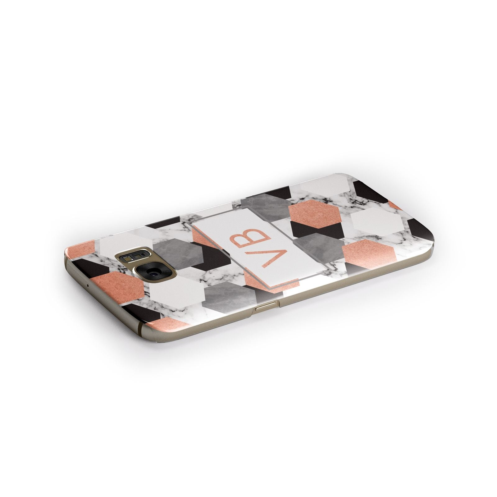 Personalised Initials Copper Marble Samsung Galaxy Case Side Close Up