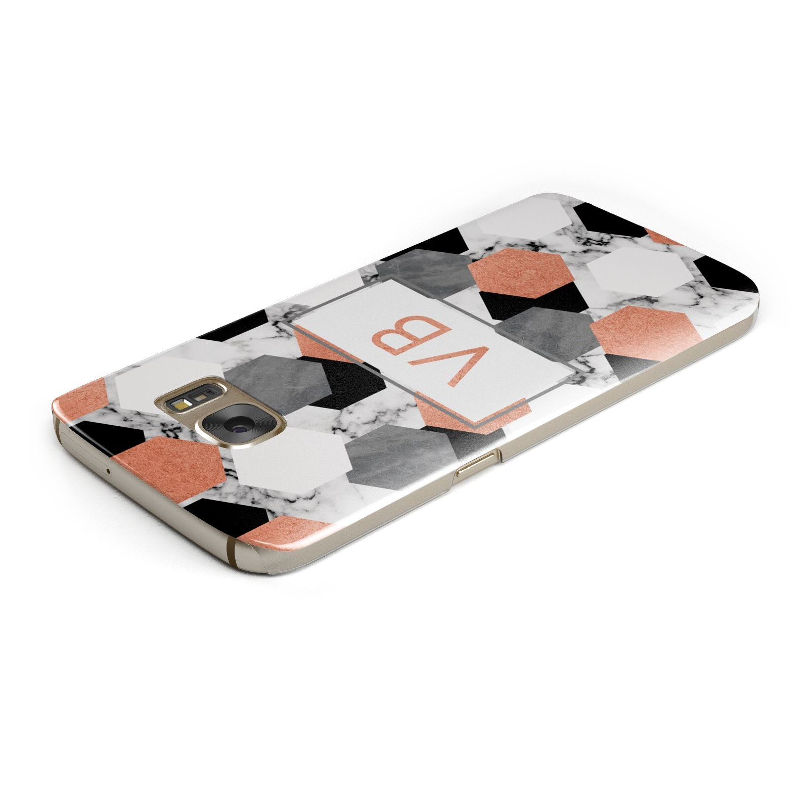Personalised Initials Copper Marble Samsung Galaxy Case Top Cutout