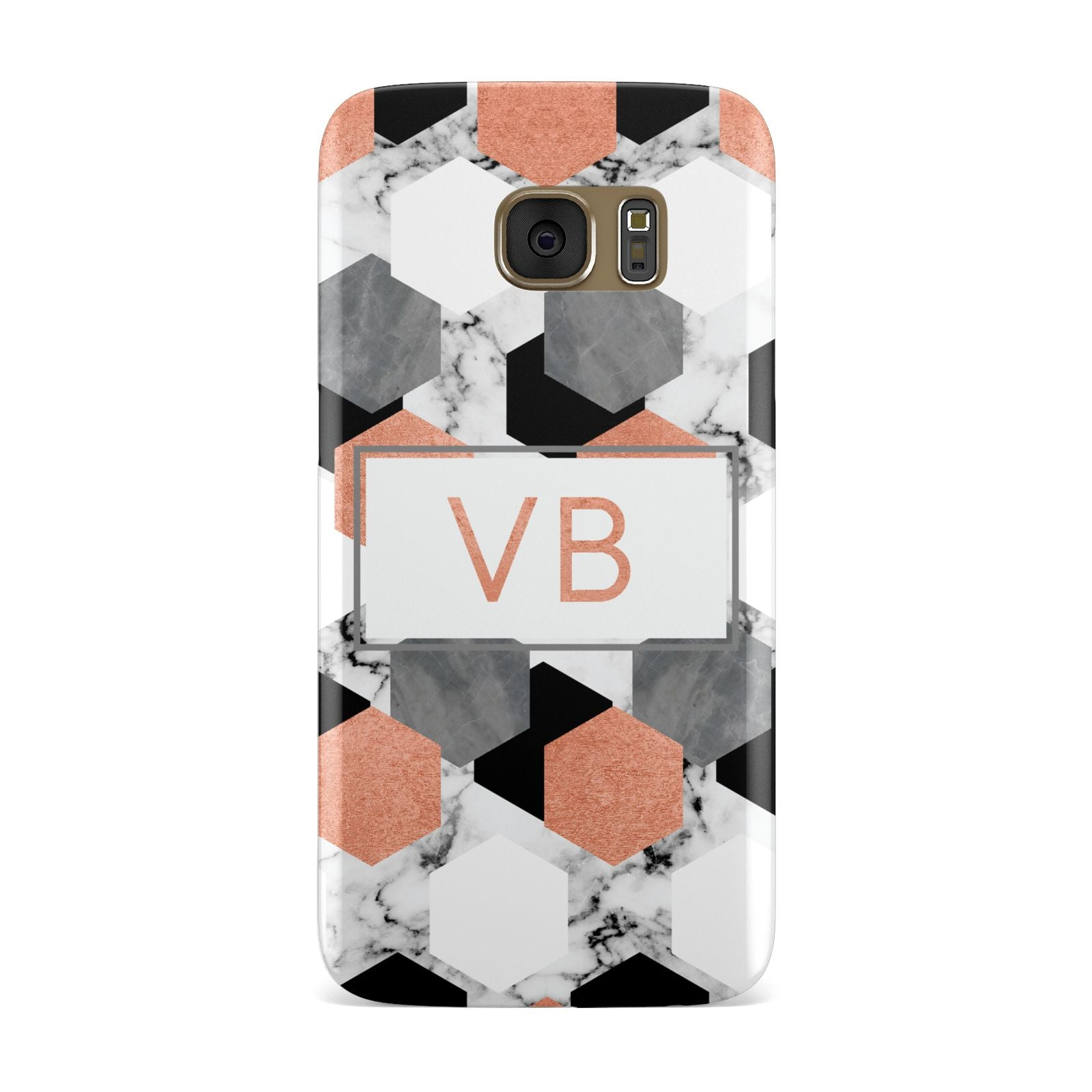 Personalised Initials Copper Marble Samsung Galaxy Case