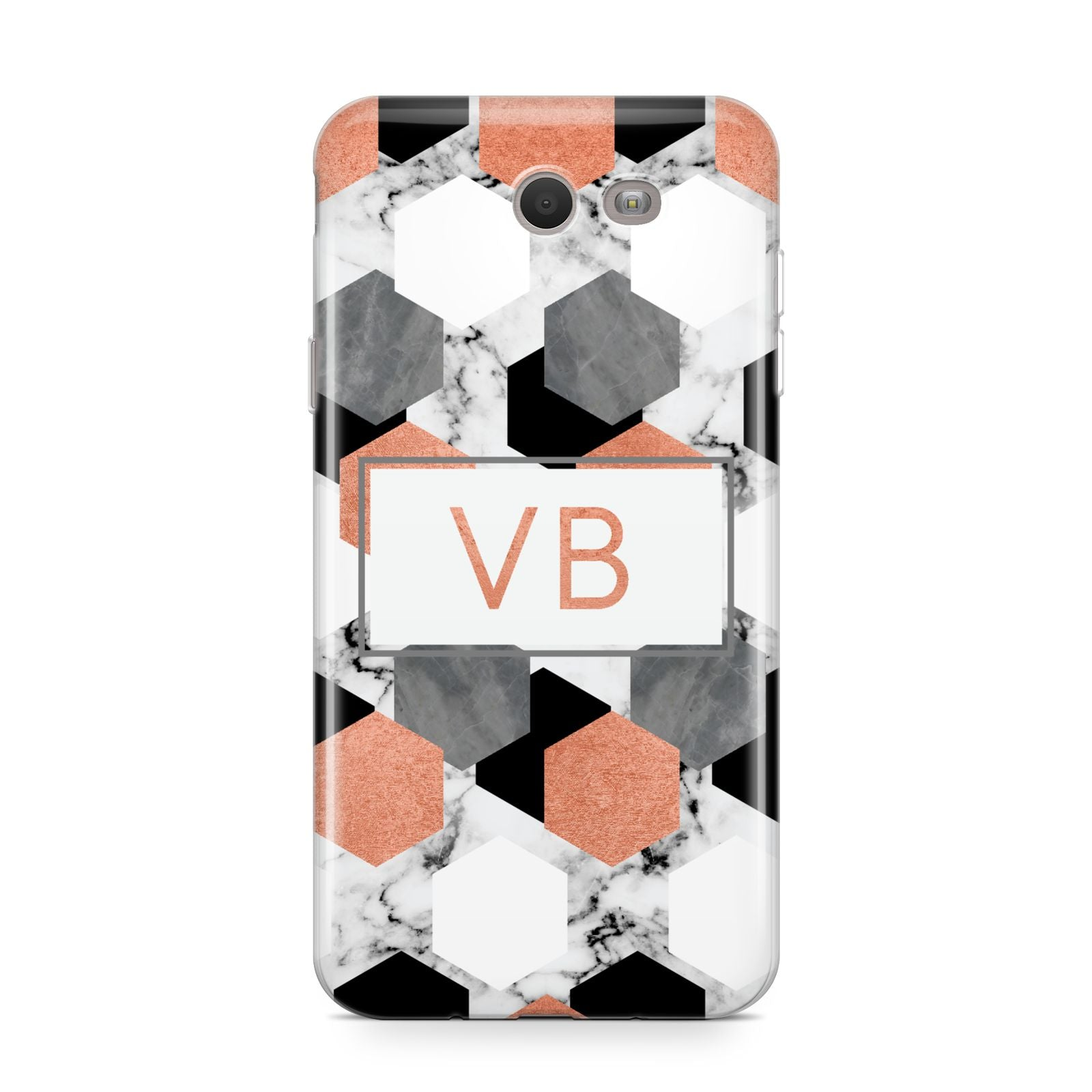 Personalised Initials Copper Marble Samsung Galaxy J7 2017 Case