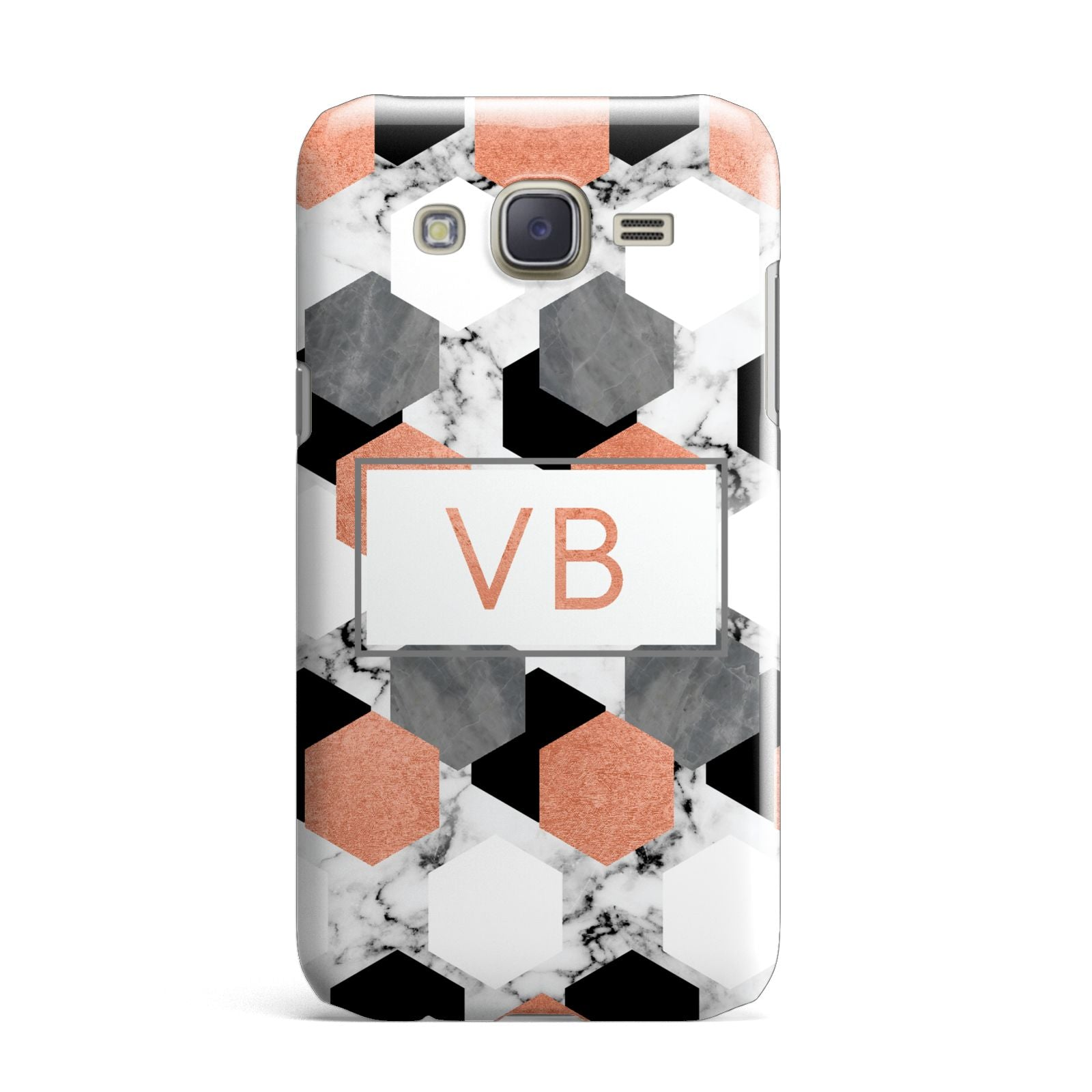 Personalised Initials Copper Marble Samsung Galaxy J7 Case