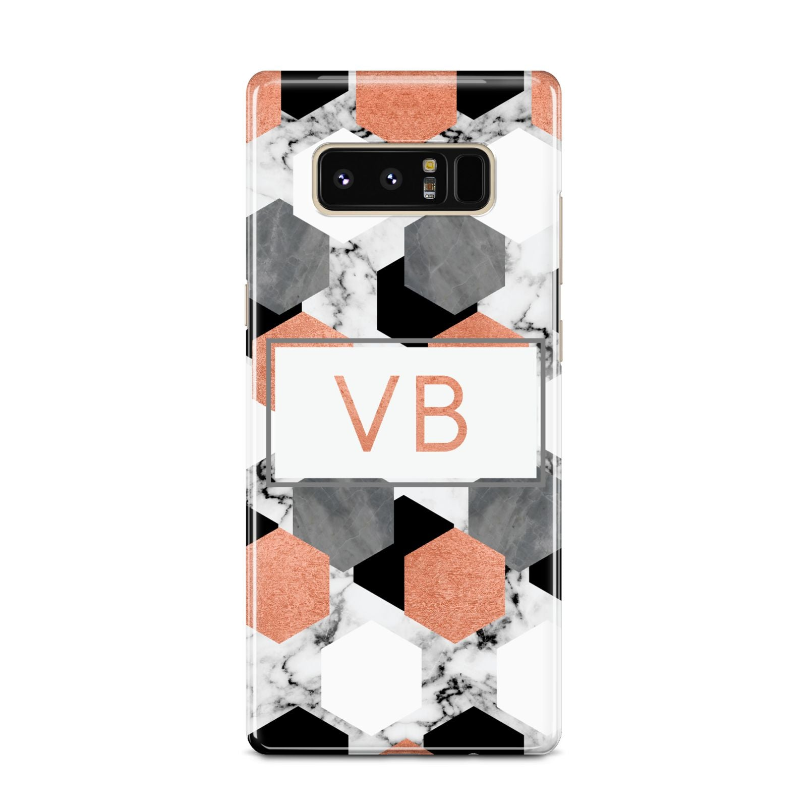 Personalised Initials Copper Marble Samsung Galaxy Note 8 Case