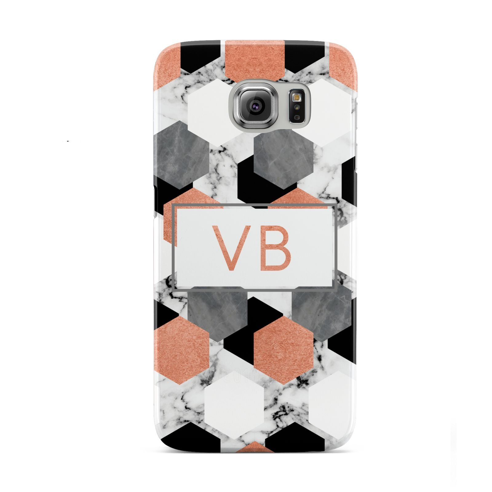 Personalised Initials Copper Marble Samsung Galaxy S6 Case