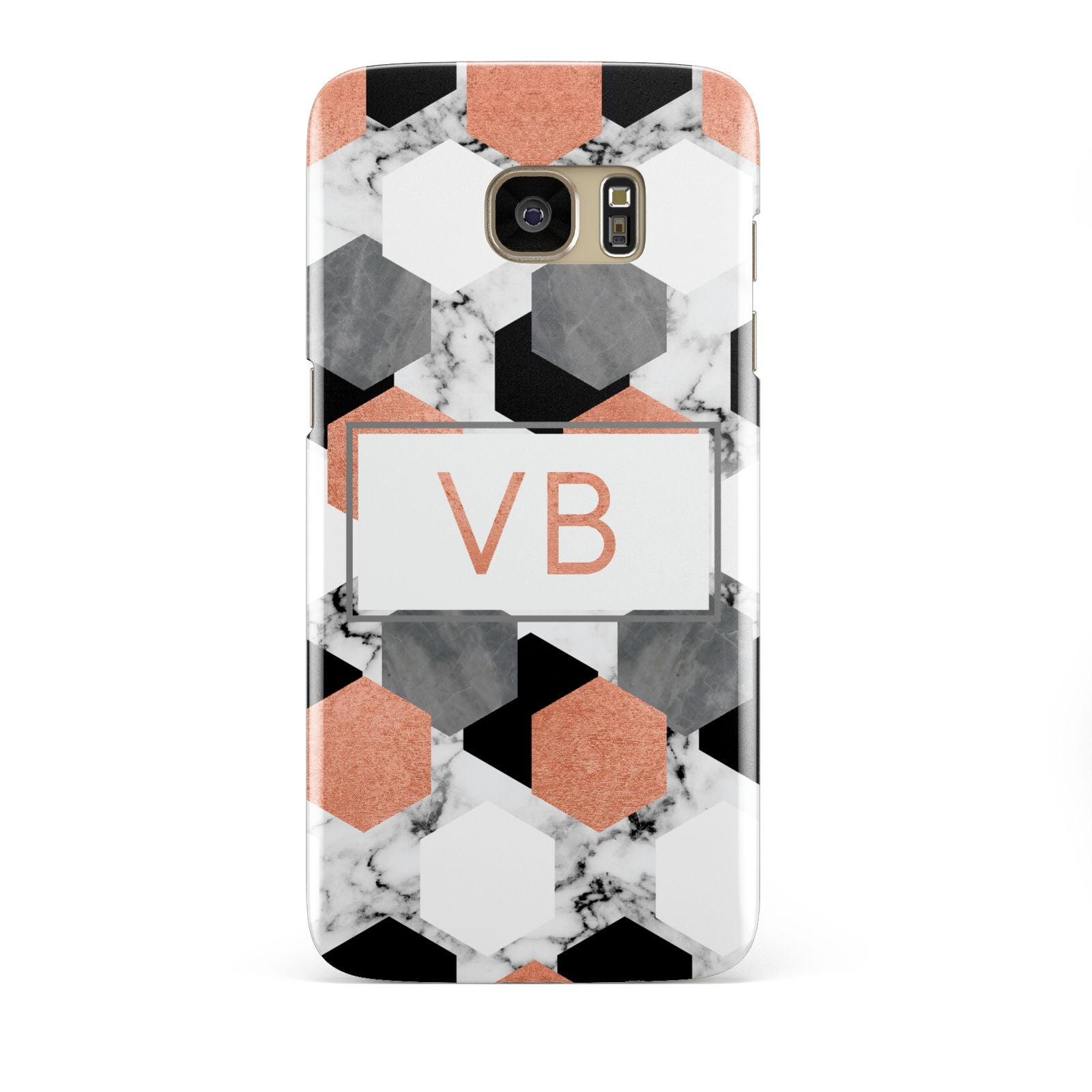Personalised Initials Copper Marble Samsung Galaxy S7 Edge Case