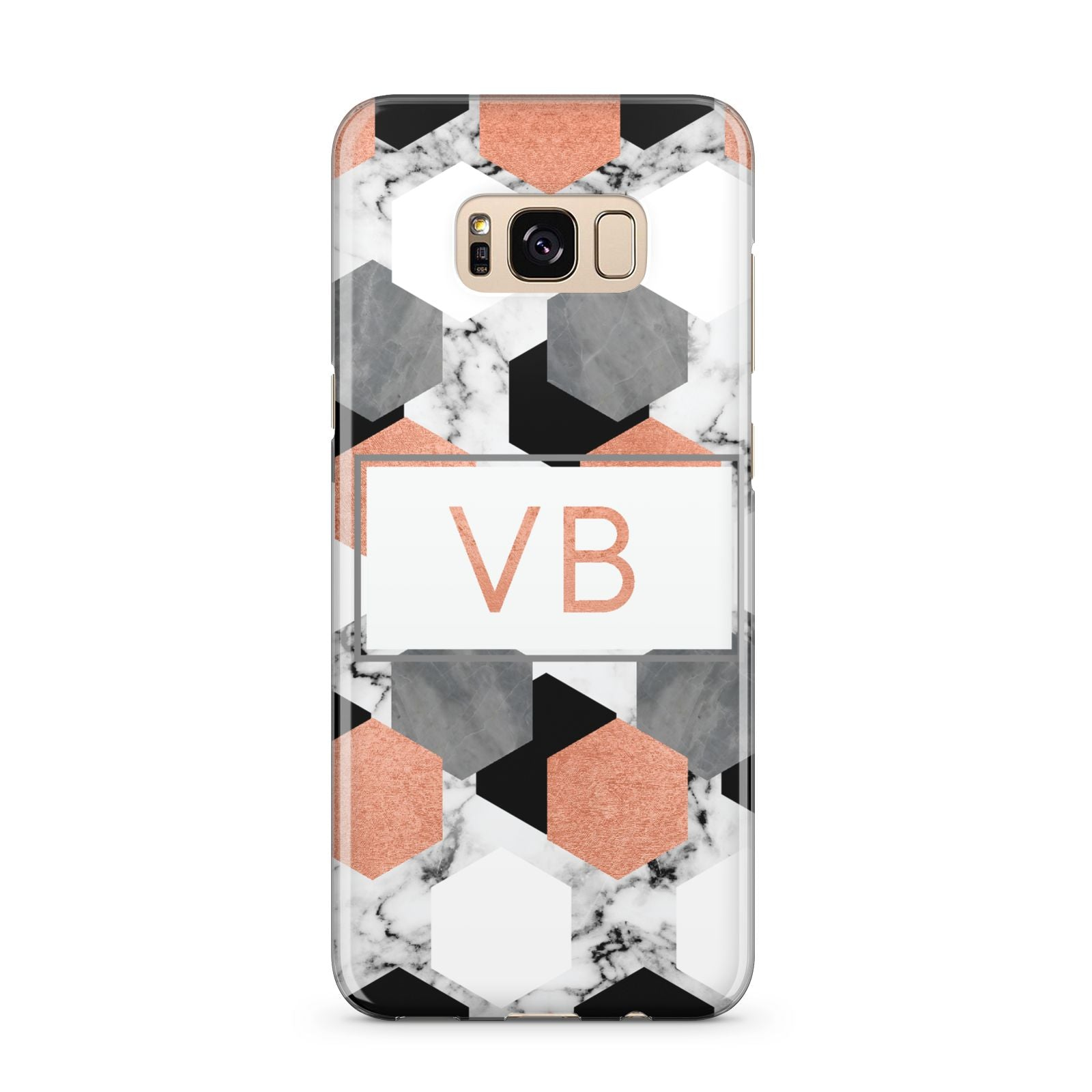 Personalised Initials Copper Marble Samsung Galaxy S8 Plus Case