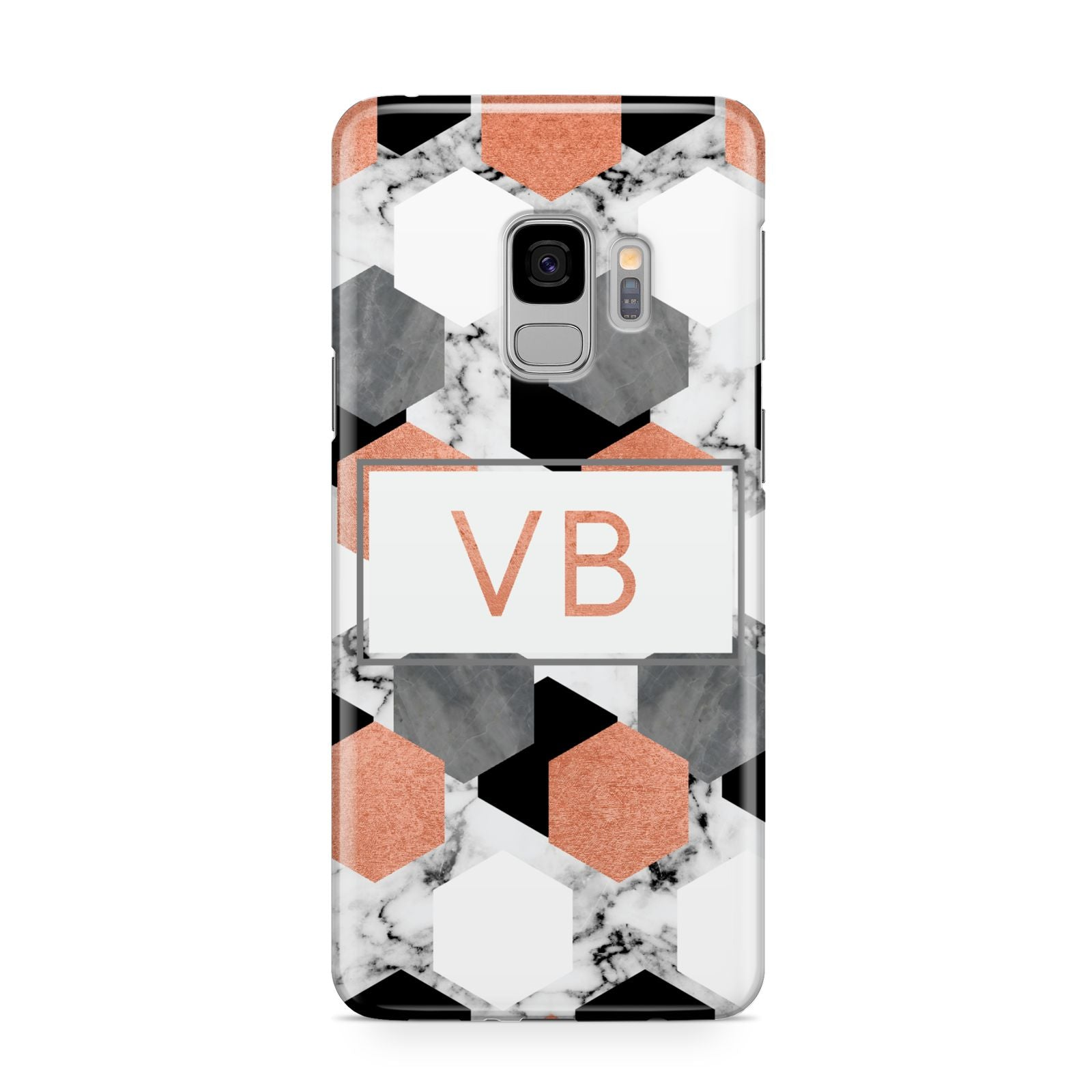Personalised Initials Copper Marble Samsung Galaxy S9 Case