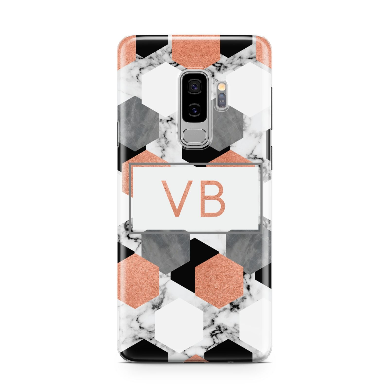 Personalised Initials Copper Marble Samsung Galaxy S9 Plus Case on Silver phone