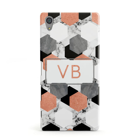 Personalised Initials Copper Marble Sony Xperia Case