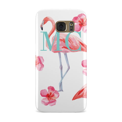 Pink Flowers & Flamingos Samsung Galaxy Case