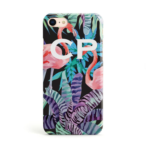 Personalised Tropical Leaves & Flamingos Apple iPhone Case