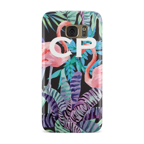 Personalised Tropical Leaves & Flamingos Samsung Galaxy Case