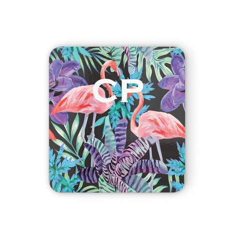 Personalised Initials Flamingos 4 Coasters set of 4