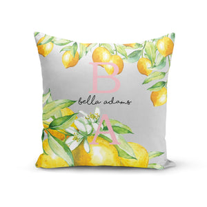 Personalised Initials Lemons Cotton Cushion