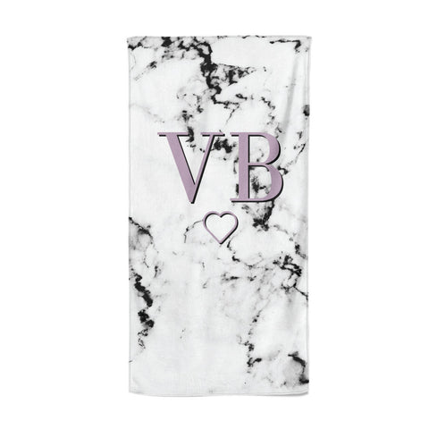 Personalised Initials Love Heart Marble Beach Towel