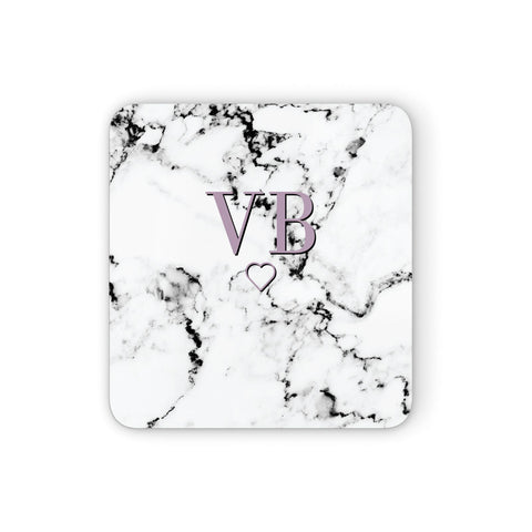 Personalised Initials Love Heart Marble Coasters set of 4