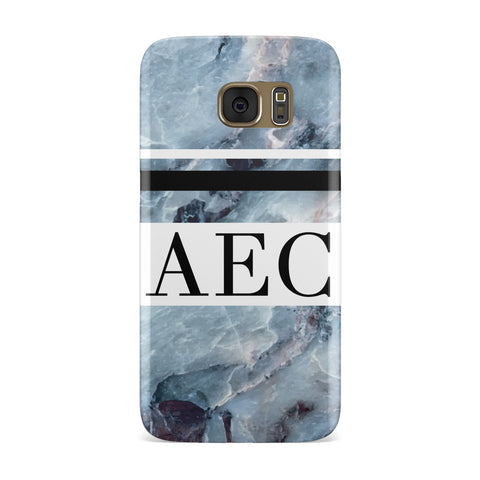 Striped Initials Blue Marble Samsung Galaxy Case