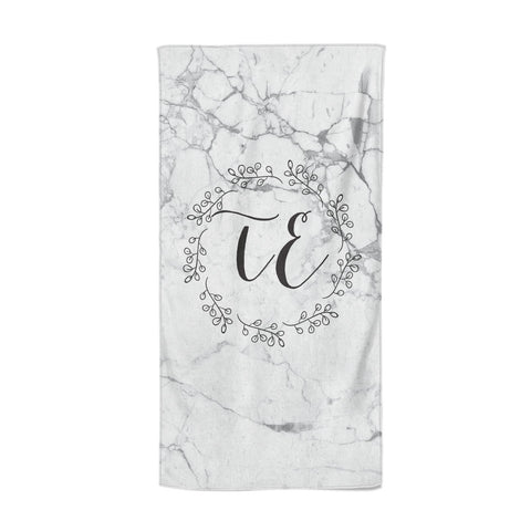 Personalised Initials Marble Beach Towel