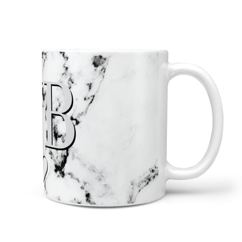 Personalised Initials Outline Heart Marble Mug