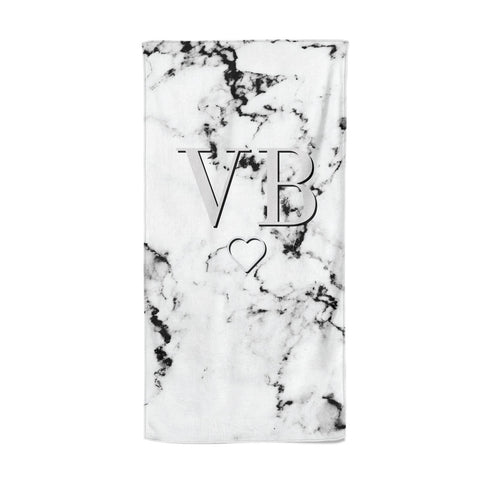 Personalised Initials Outline Heart Marble Beach Towel