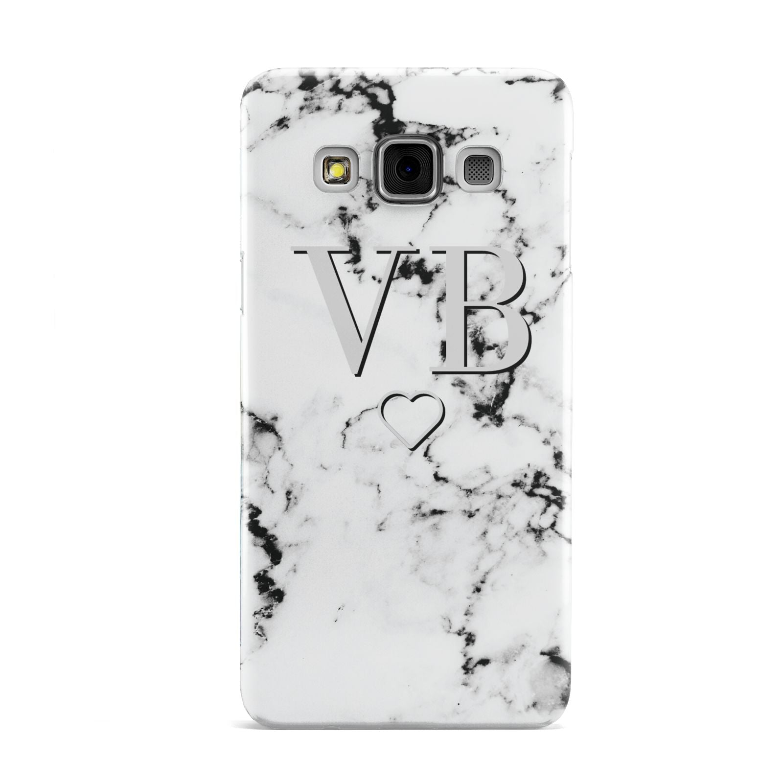 Personalised Initials Outline Heart Marble Samsung Galaxy A3 Case