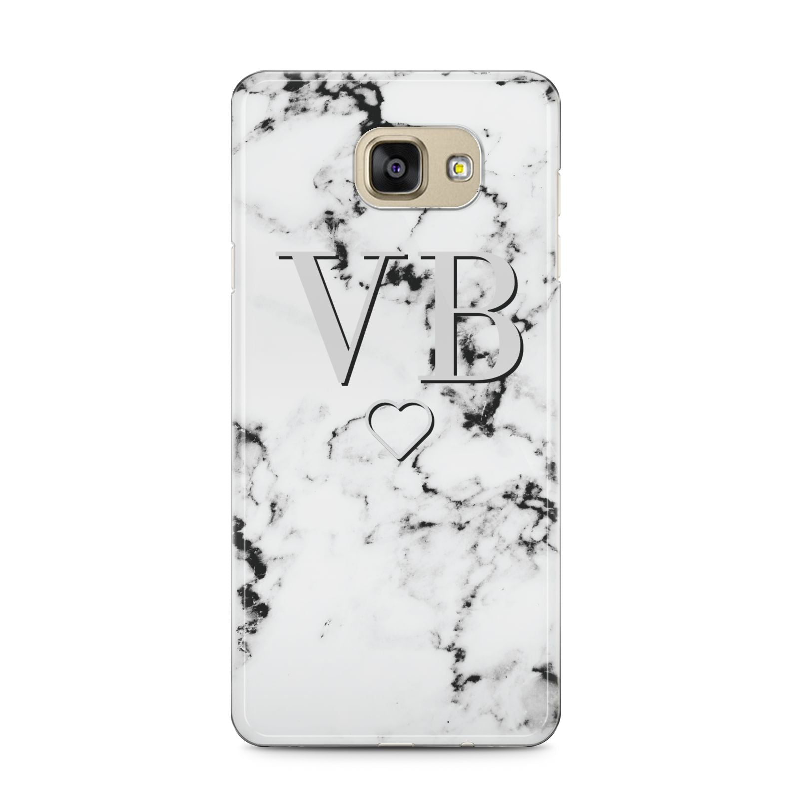Personalised Initials Outline Heart Marble Samsung Galaxy A5 2016 Case on gold phone