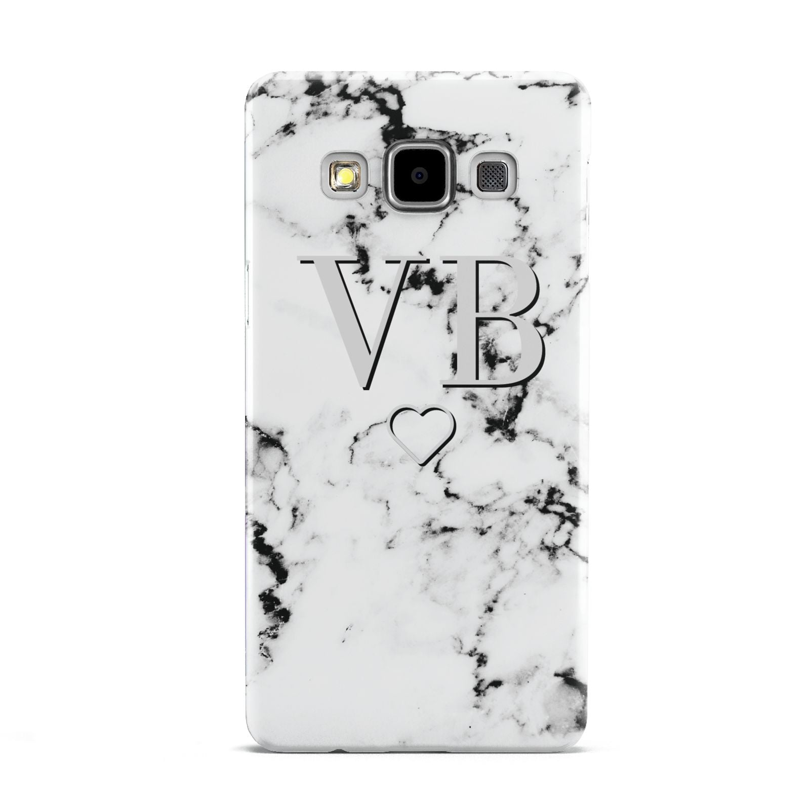 Personalised Initials Outline Heart Marble Samsung Galaxy A5 Case