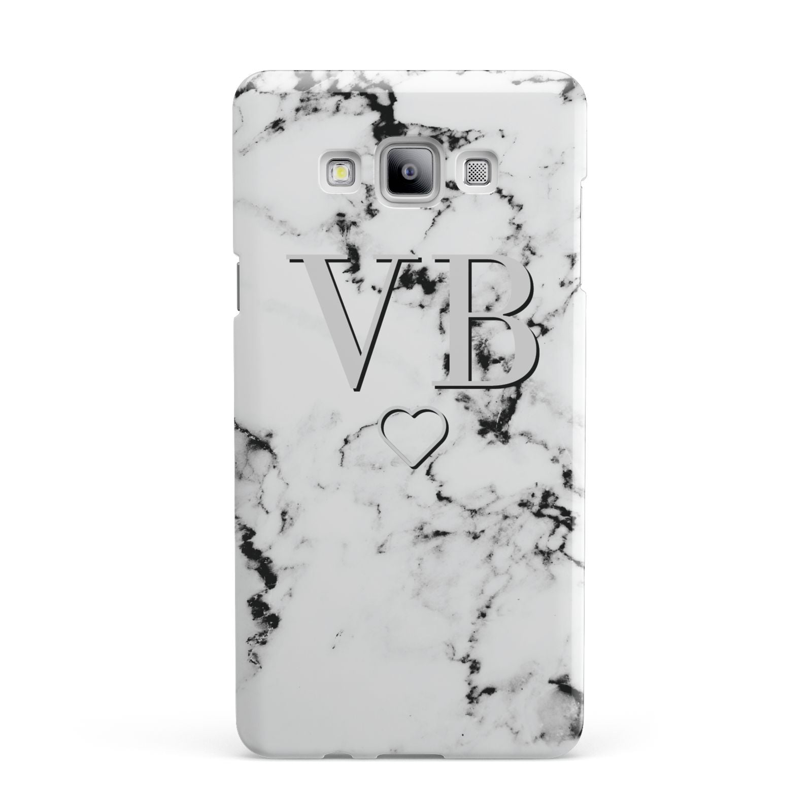 Personalised Initials Outline Heart Marble Samsung Galaxy A7 2015 Case