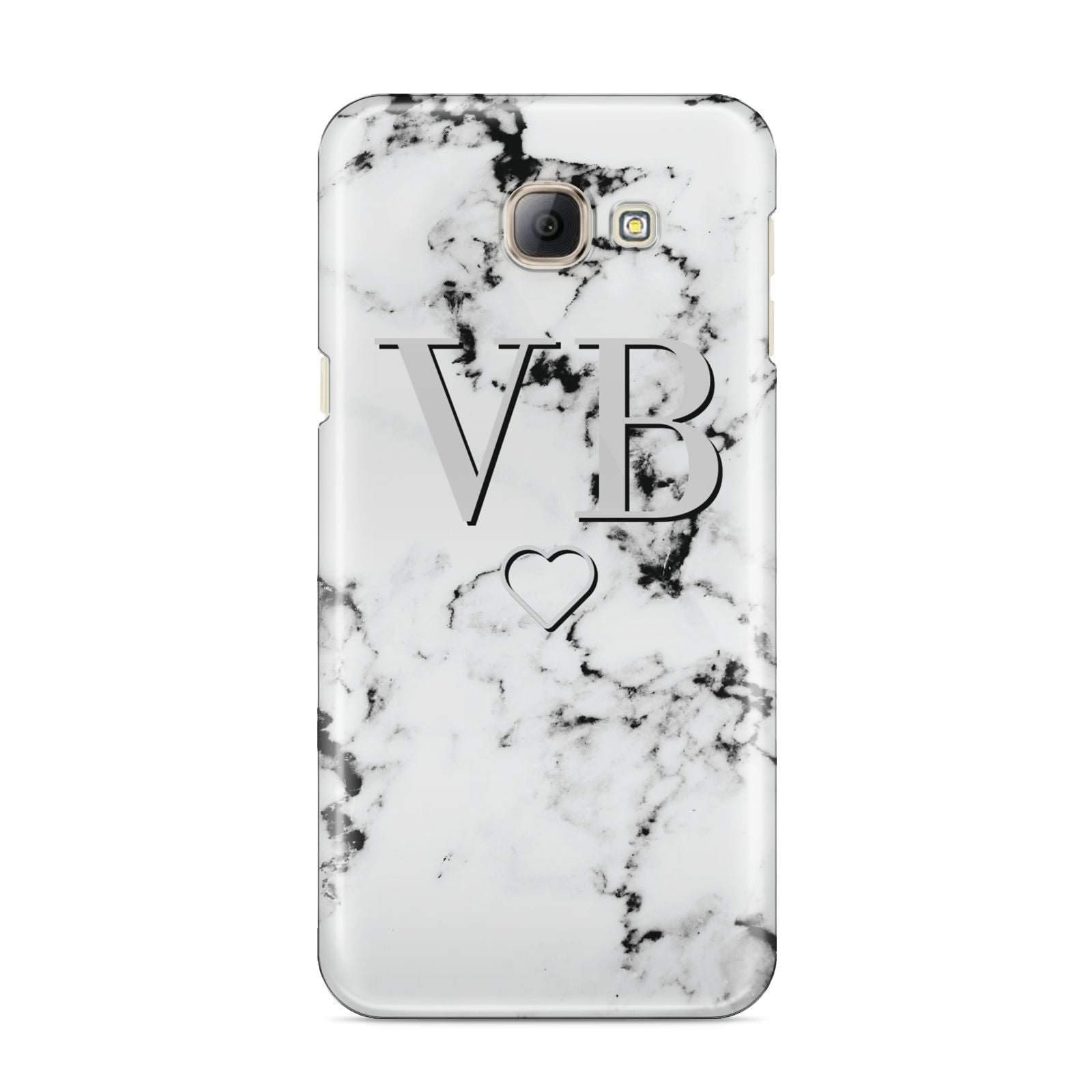 Personalised Initials Outline Heart Marble Samsung Galaxy A8 2016 Case