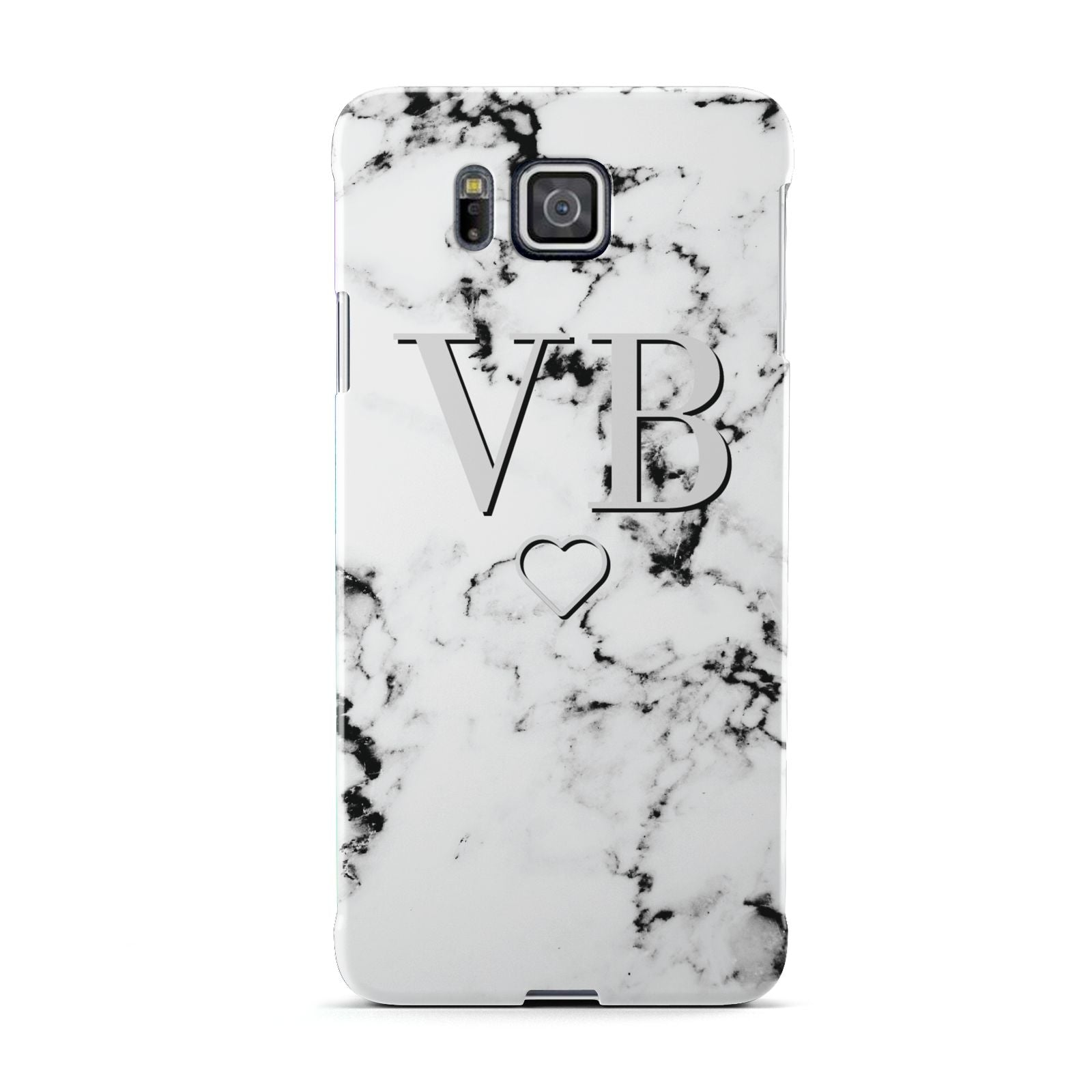 Personalised Initials Outline Heart Marble Samsung Galaxy Alpha Case