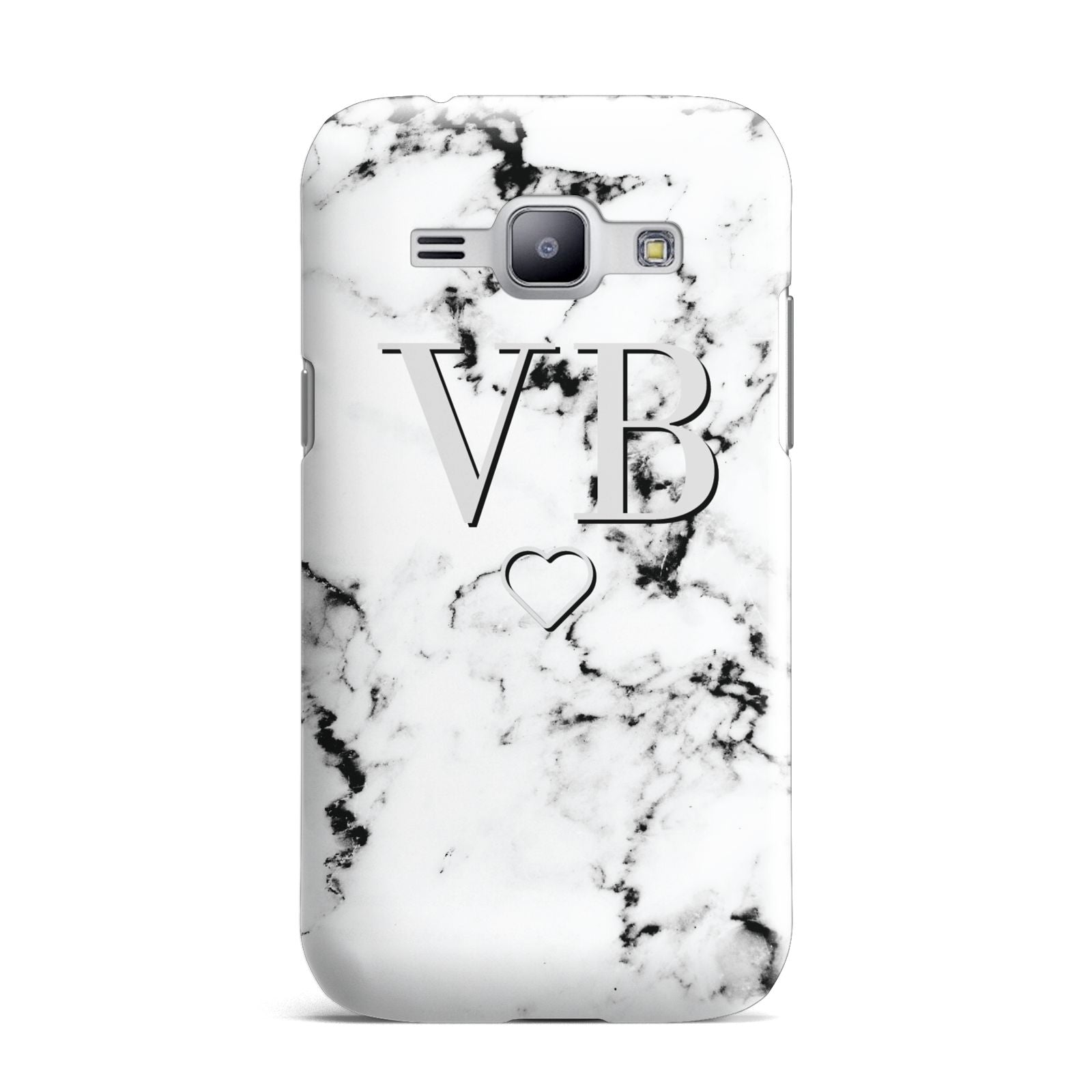 Personalised Initials Outline Heart Marble Samsung Galaxy J1 2015 Case