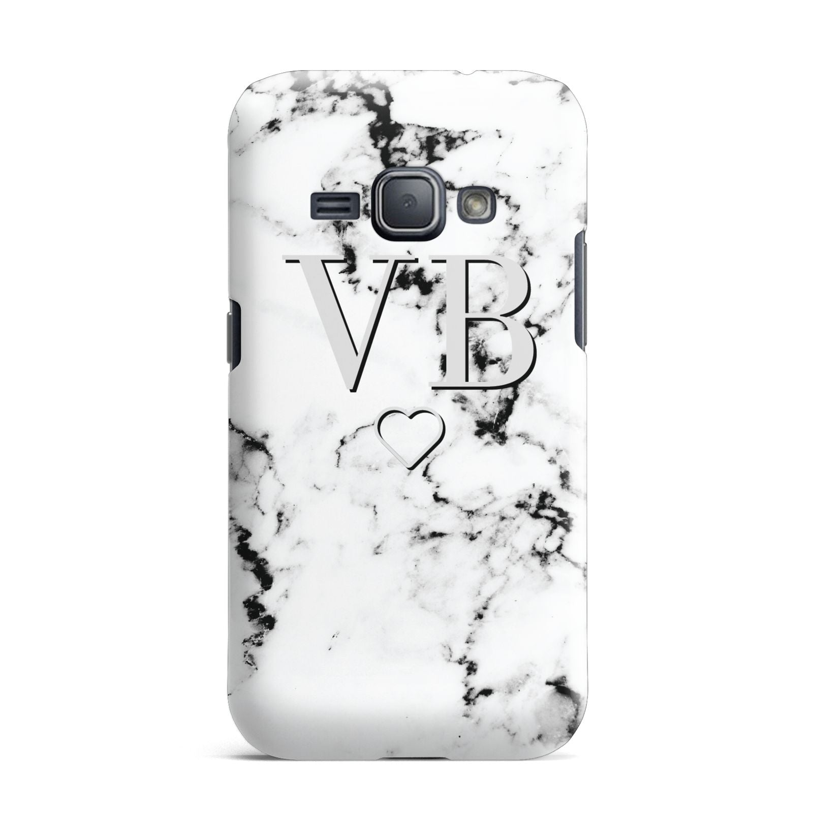 Personalised Initials Outline Heart Marble Samsung Galaxy J1 2016 Case