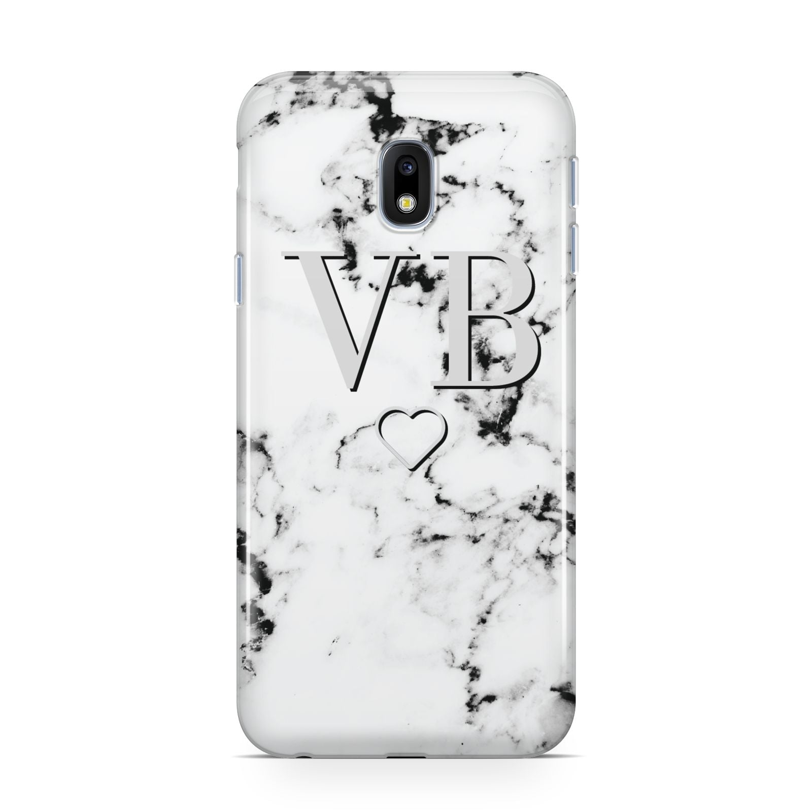 Personalised Initials Outline Heart Marble Samsung Galaxy J3 2017 Case
