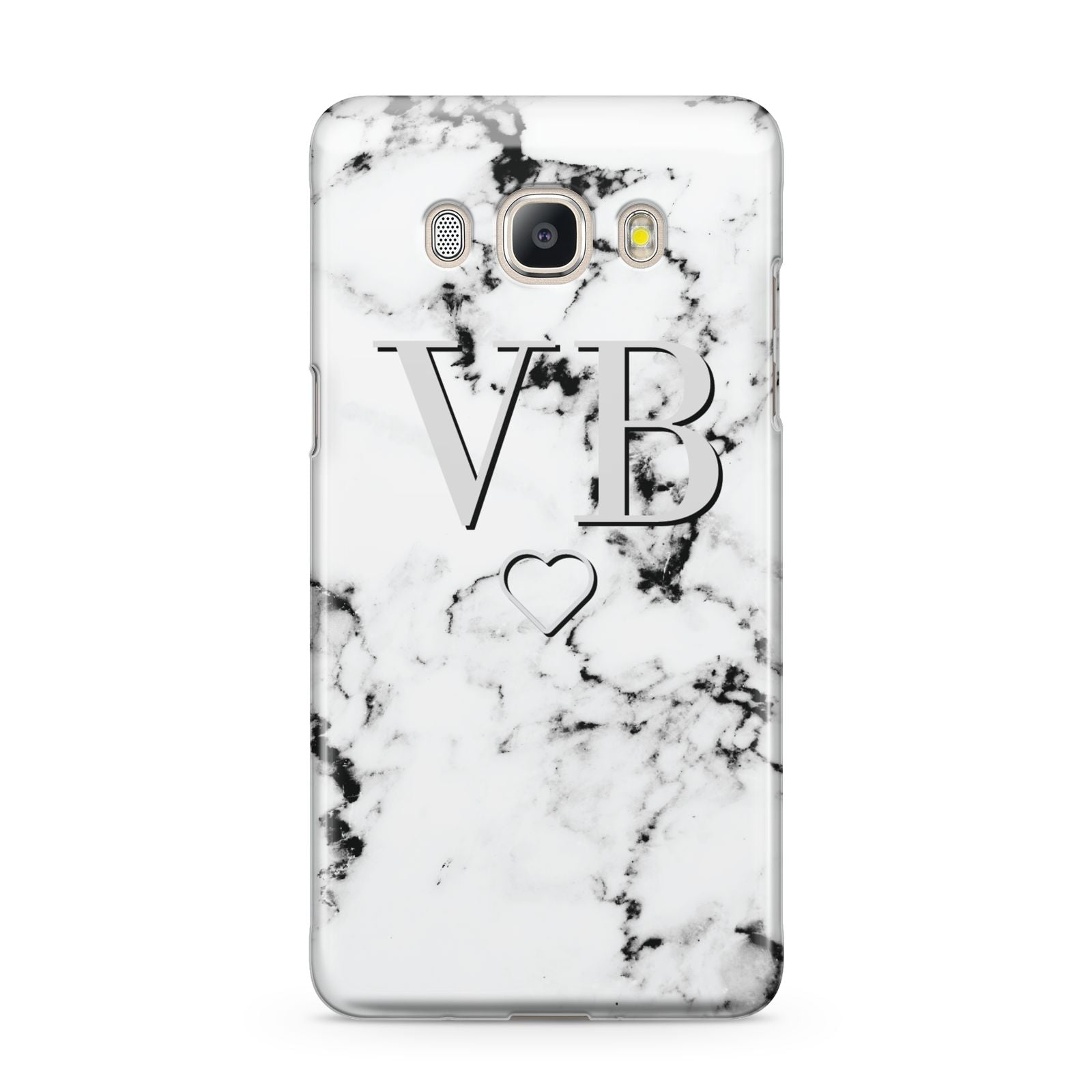 Personalised Initials Outline Heart Marble Samsung Galaxy J5 2016 Case