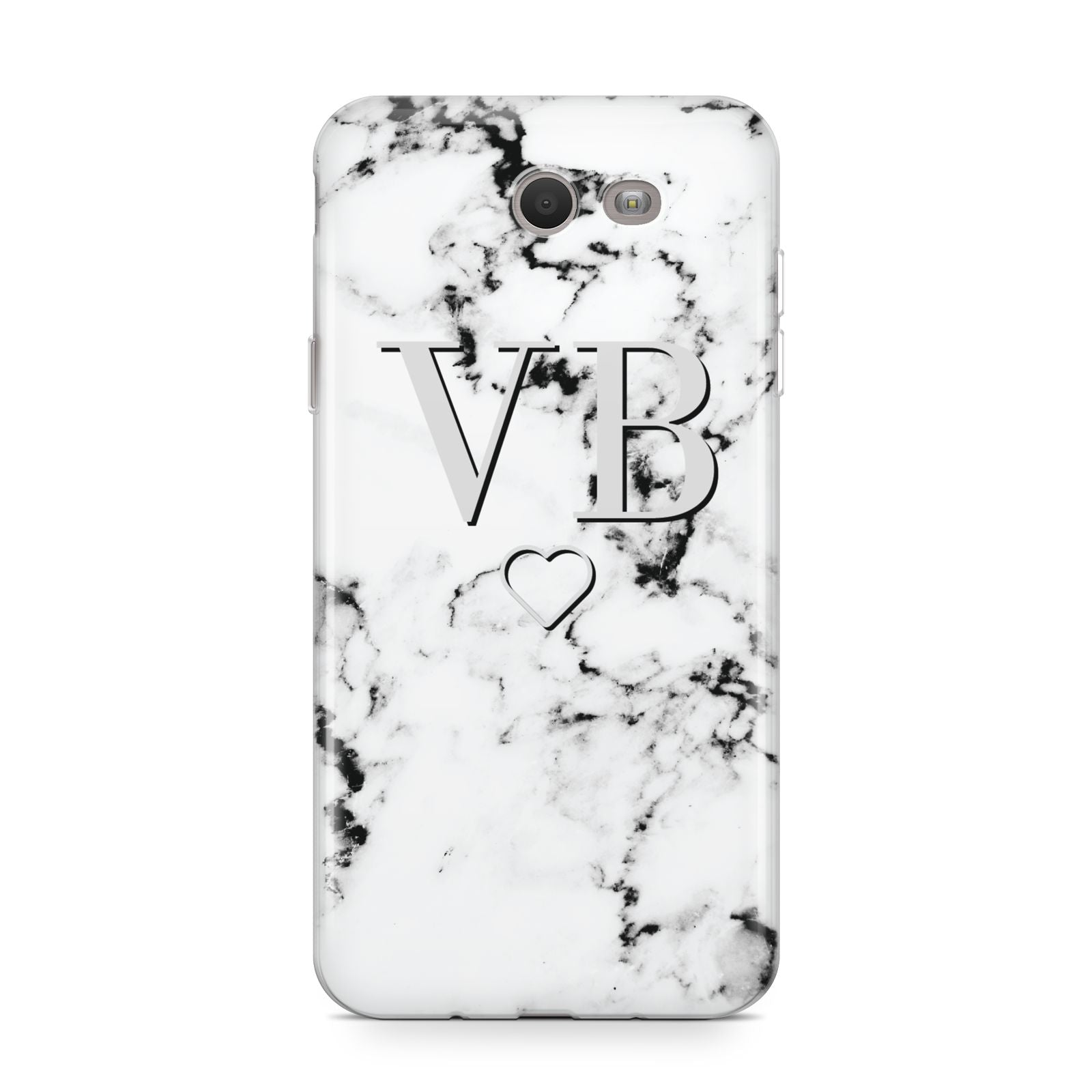 Personalised Initials Outline Heart Marble Samsung Galaxy J7 2017 Case