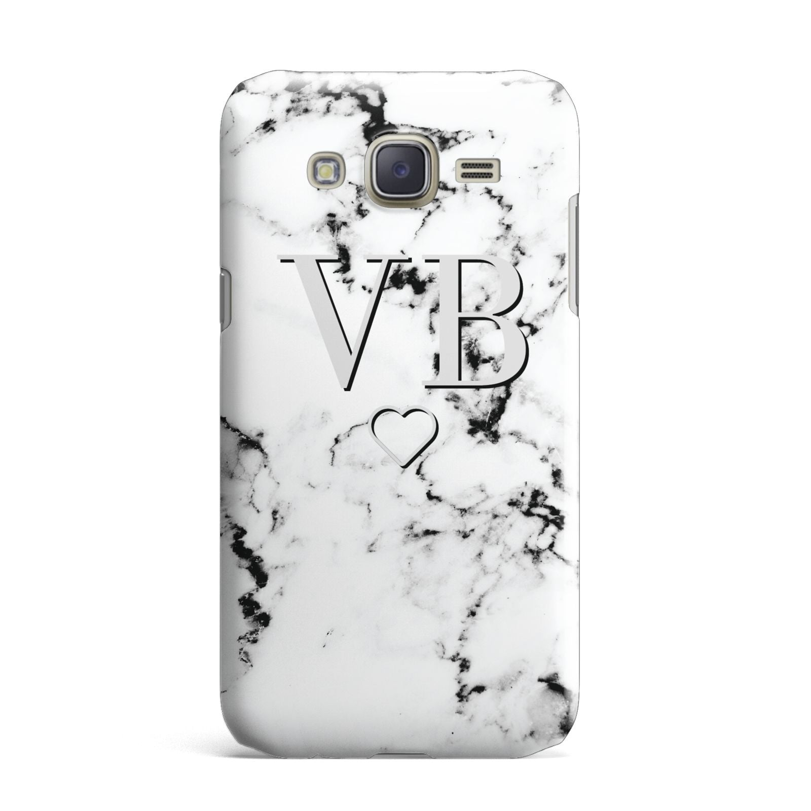 Personalised Initials Outline Heart Marble Samsung Galaxy J7 Case