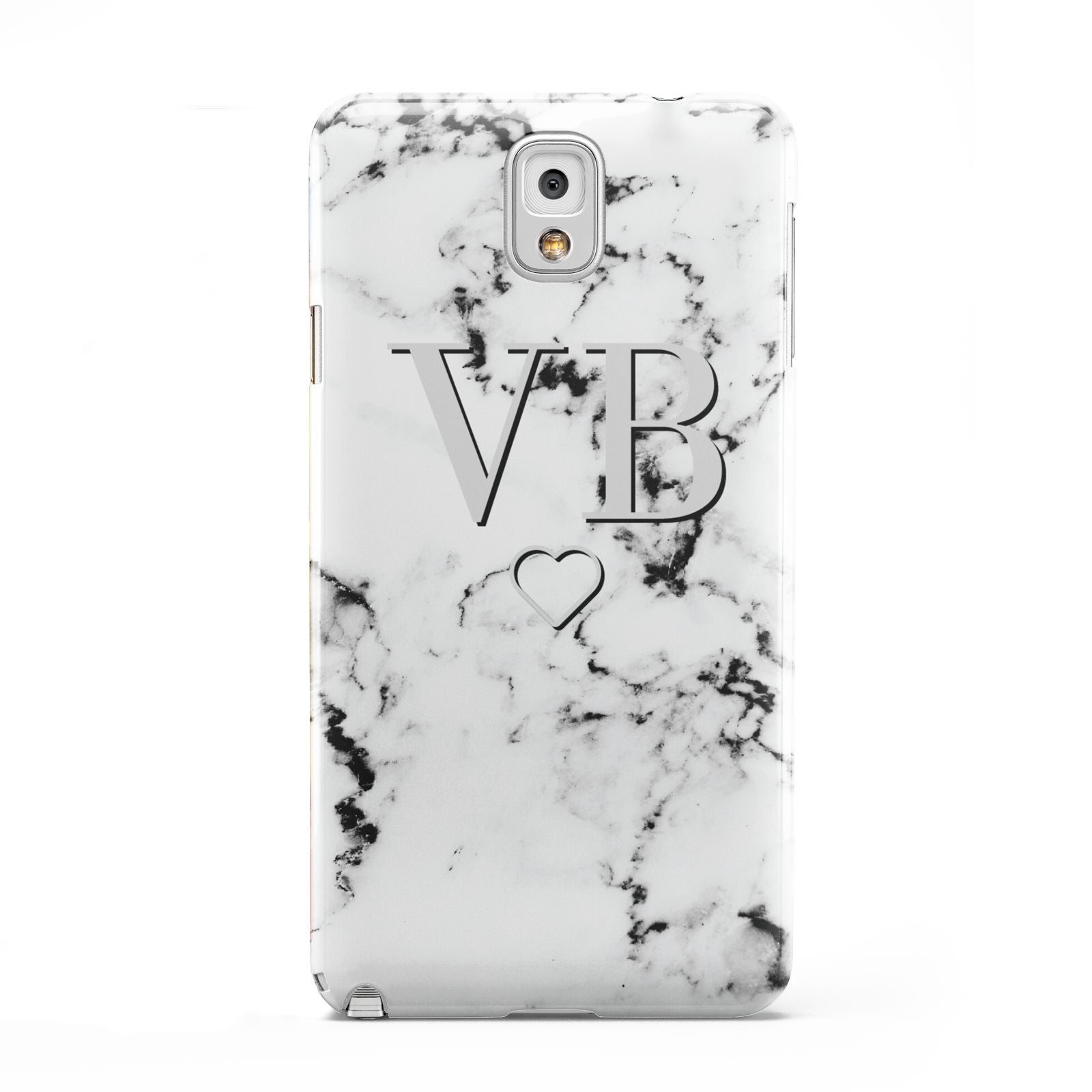 Personalised Initials Outline Heart Marble Samsung Galaxy Note 3 Case