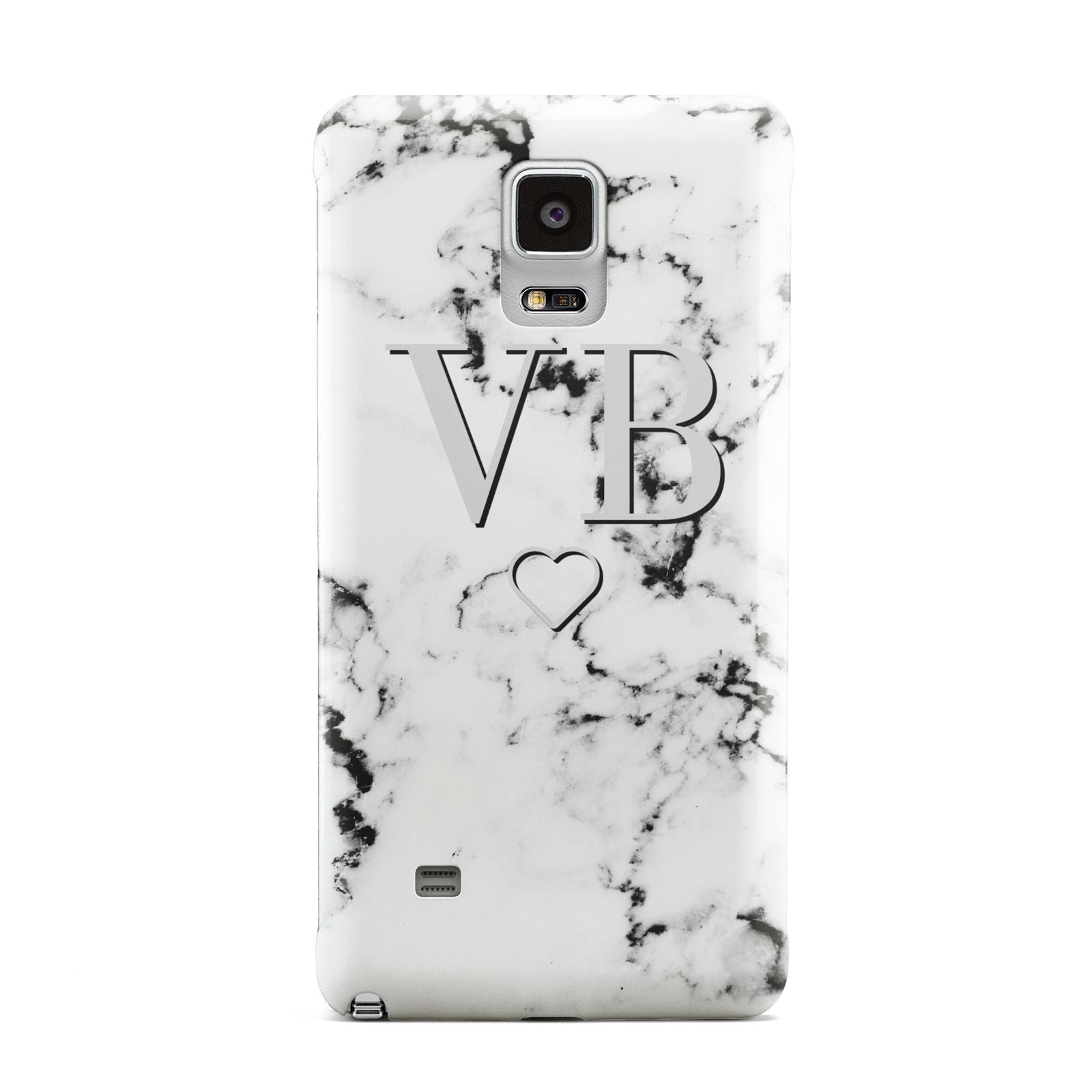 Personalised Initials Outline Heart Marble Samsung Galaxy Note 4 Case