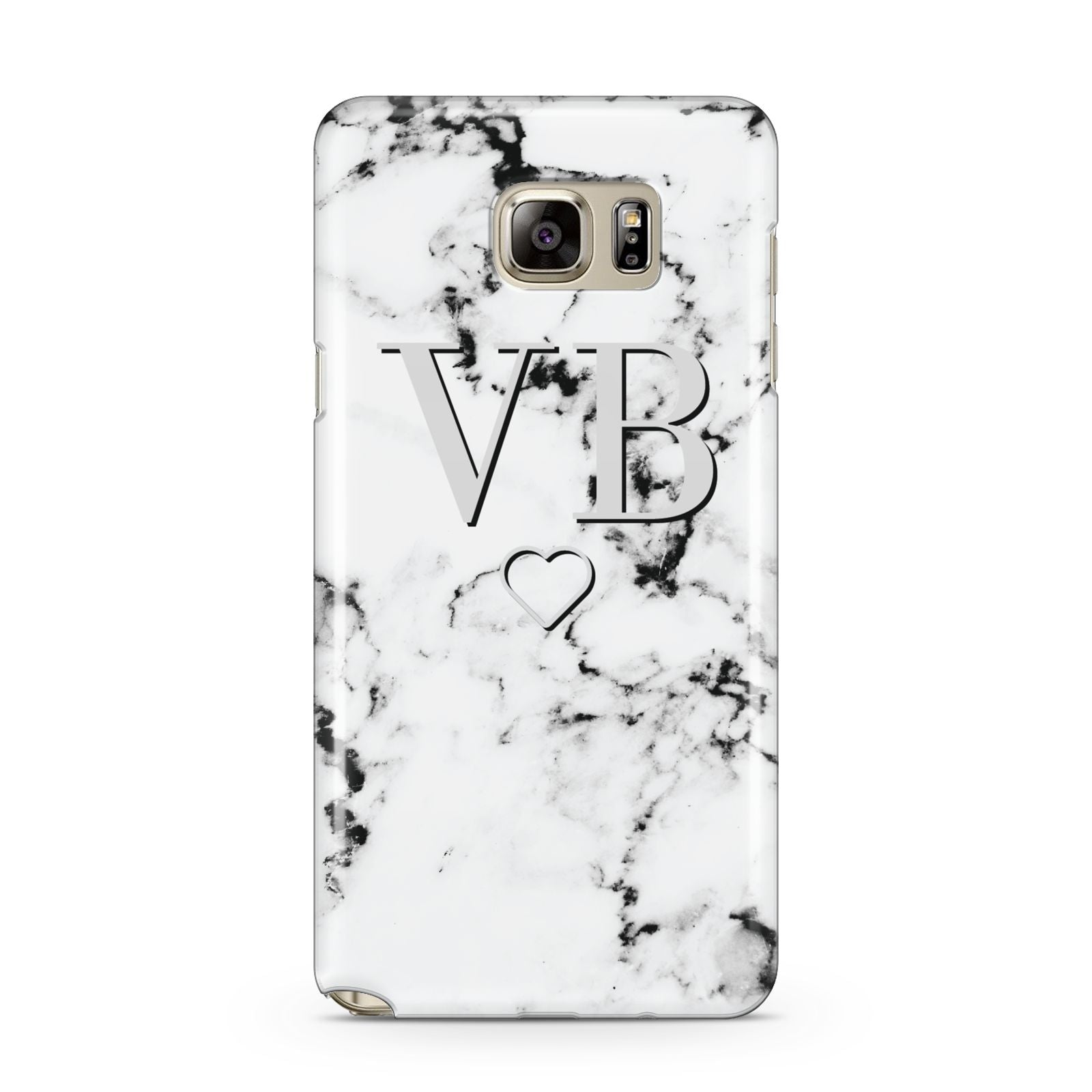 Personalised Initials Outline Heart Marble Samsung Galaxy Note 5 Case