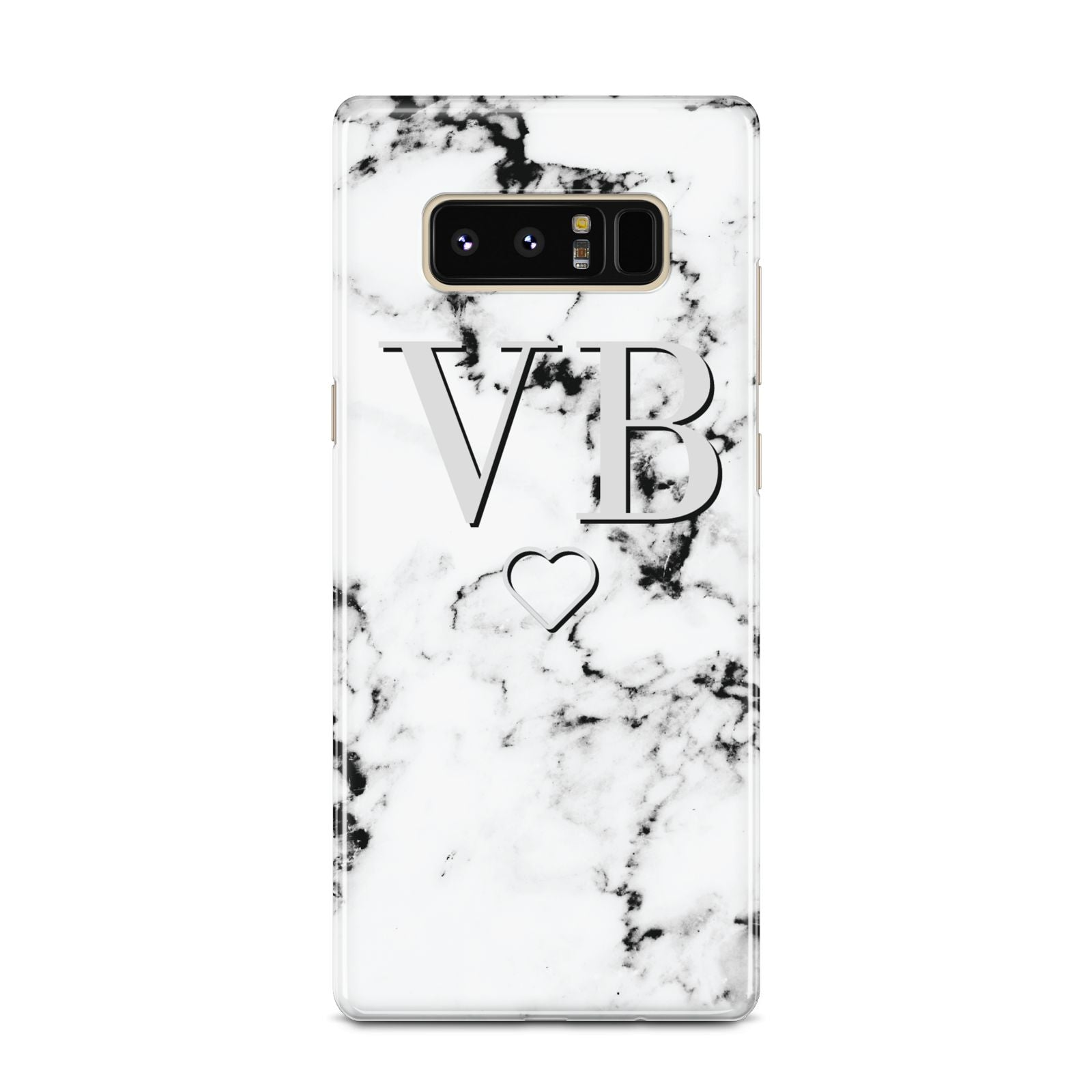 Personalised Initials Outline Heart Marble Samsung Galaxy Note 8 Case